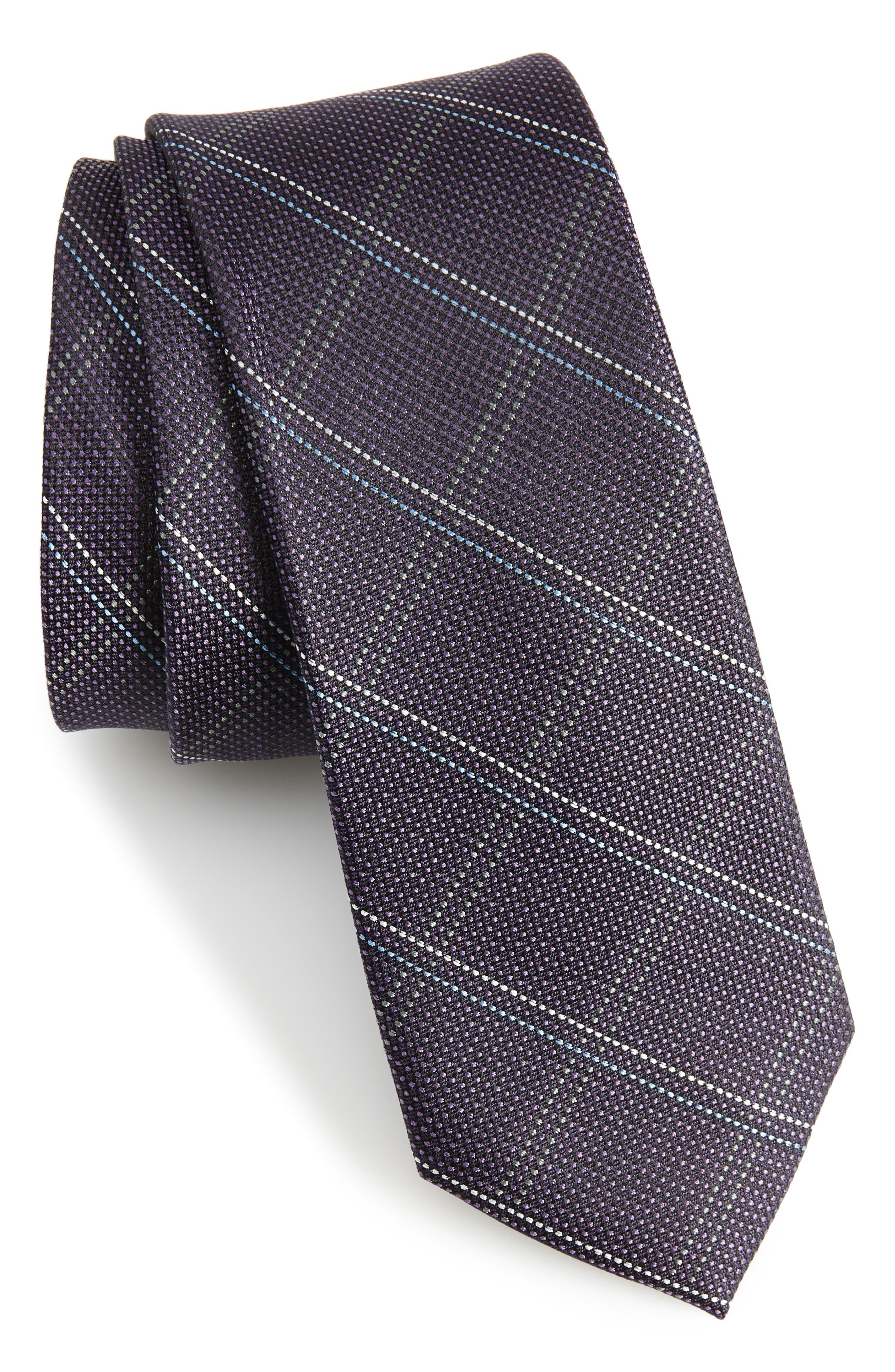 Wingman Checks Silk Skinny Tie,                         Main,                         color, Eggplant