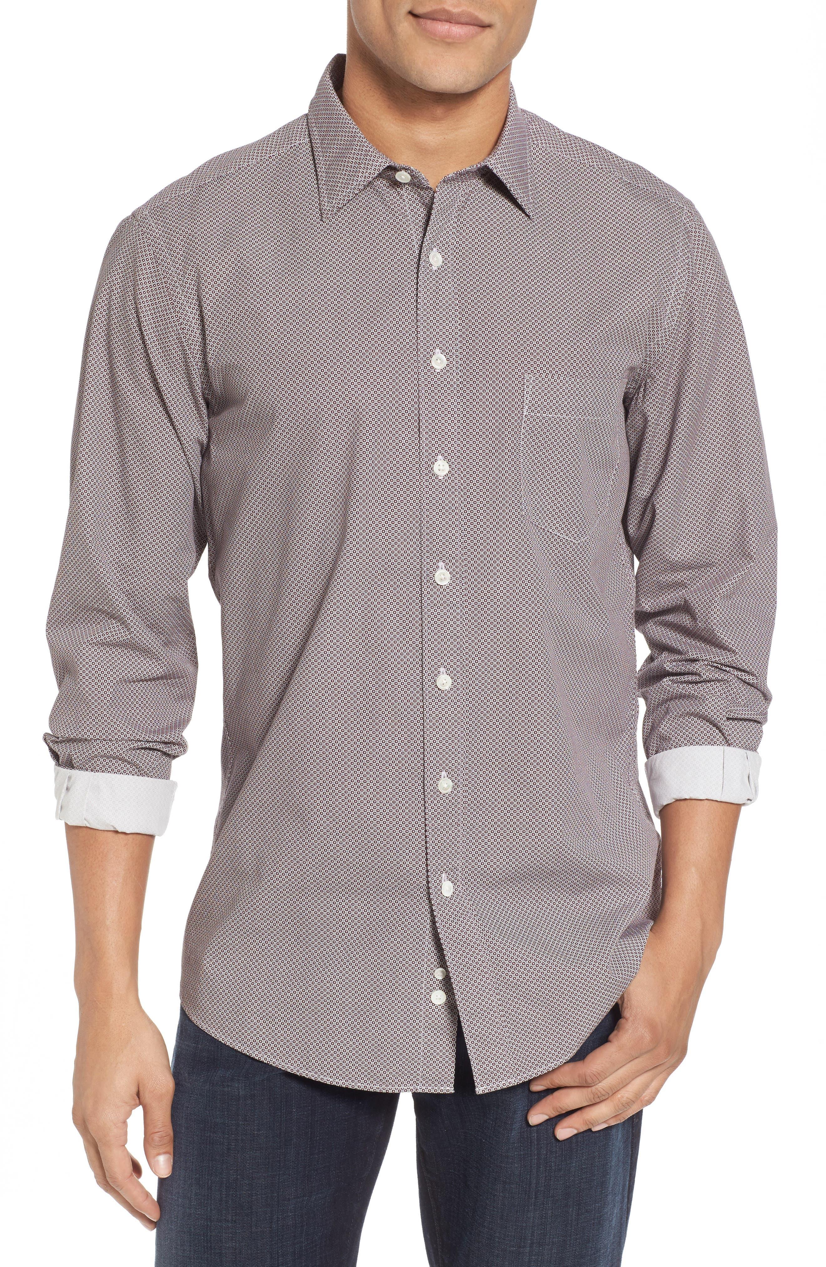 Oakhurst Sports Fit Print Sports Shirt,                         Main,                         color, Rhubarb