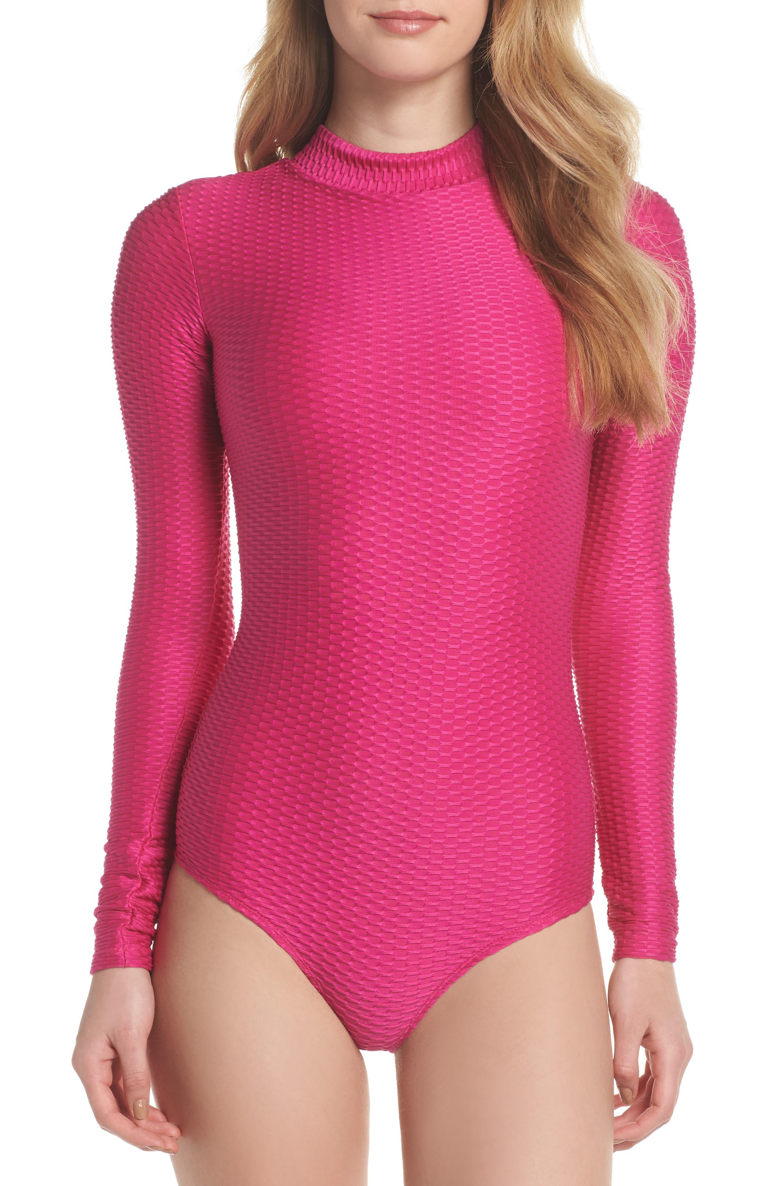 Long Sleeve One-Piece Swimsuit,                             Main thumbnail 1, color,                             Fuchsia