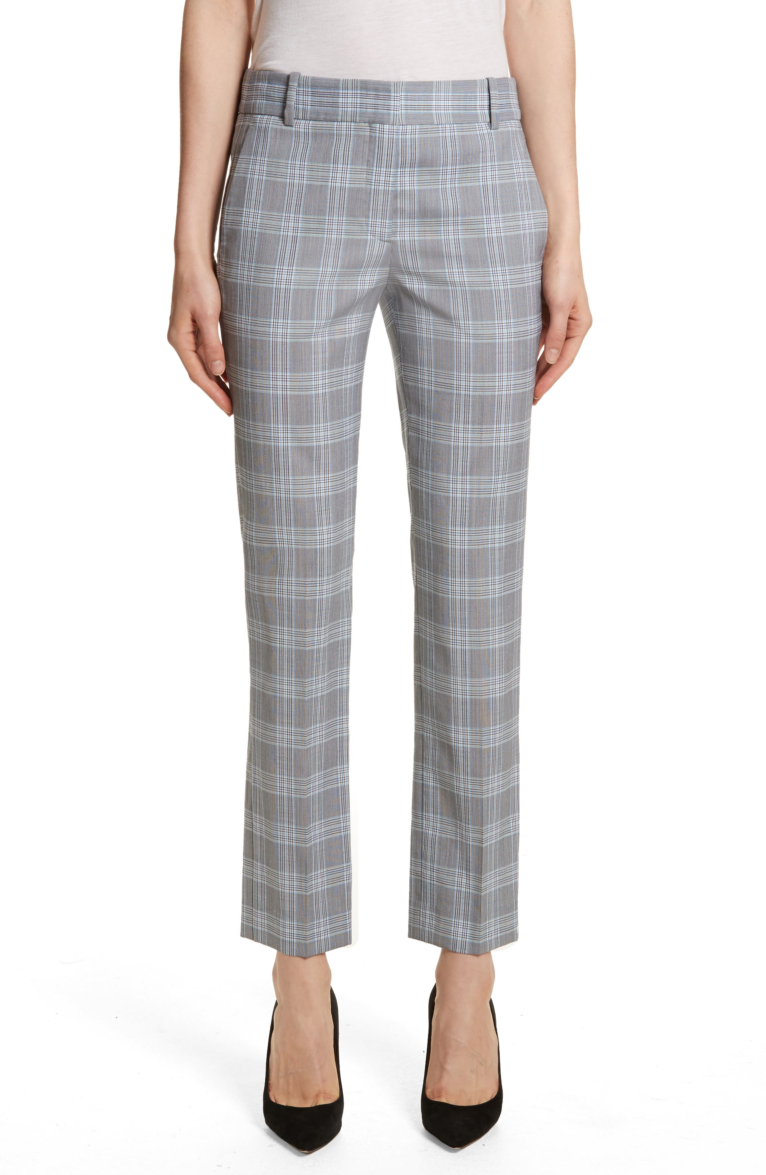 Maple Check 2 Straight Crop Trousers,                         Main,                         color, White