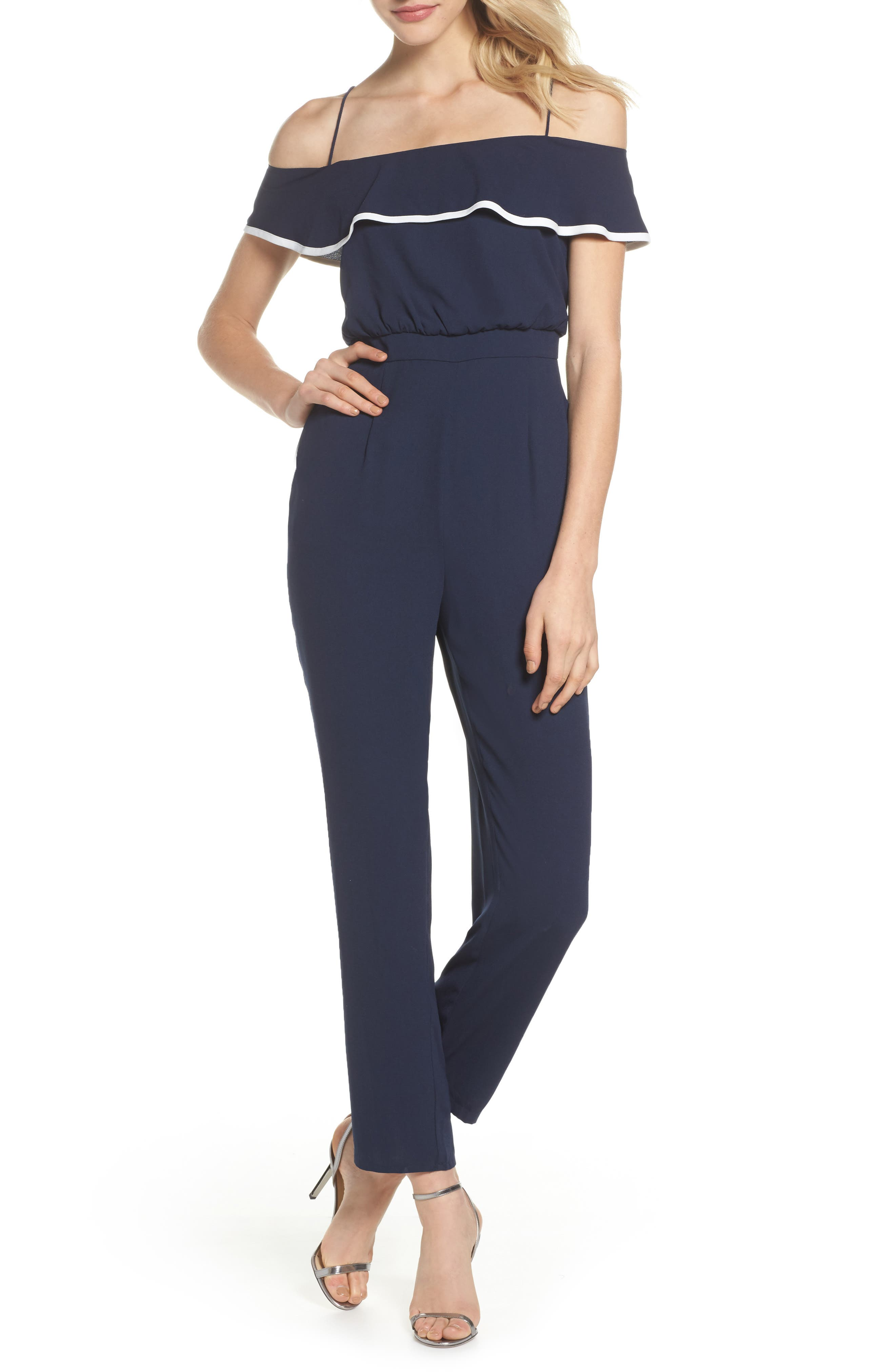 Ruffle Off the Shoulder Jumpsuit,                         Main,                         color, Navy