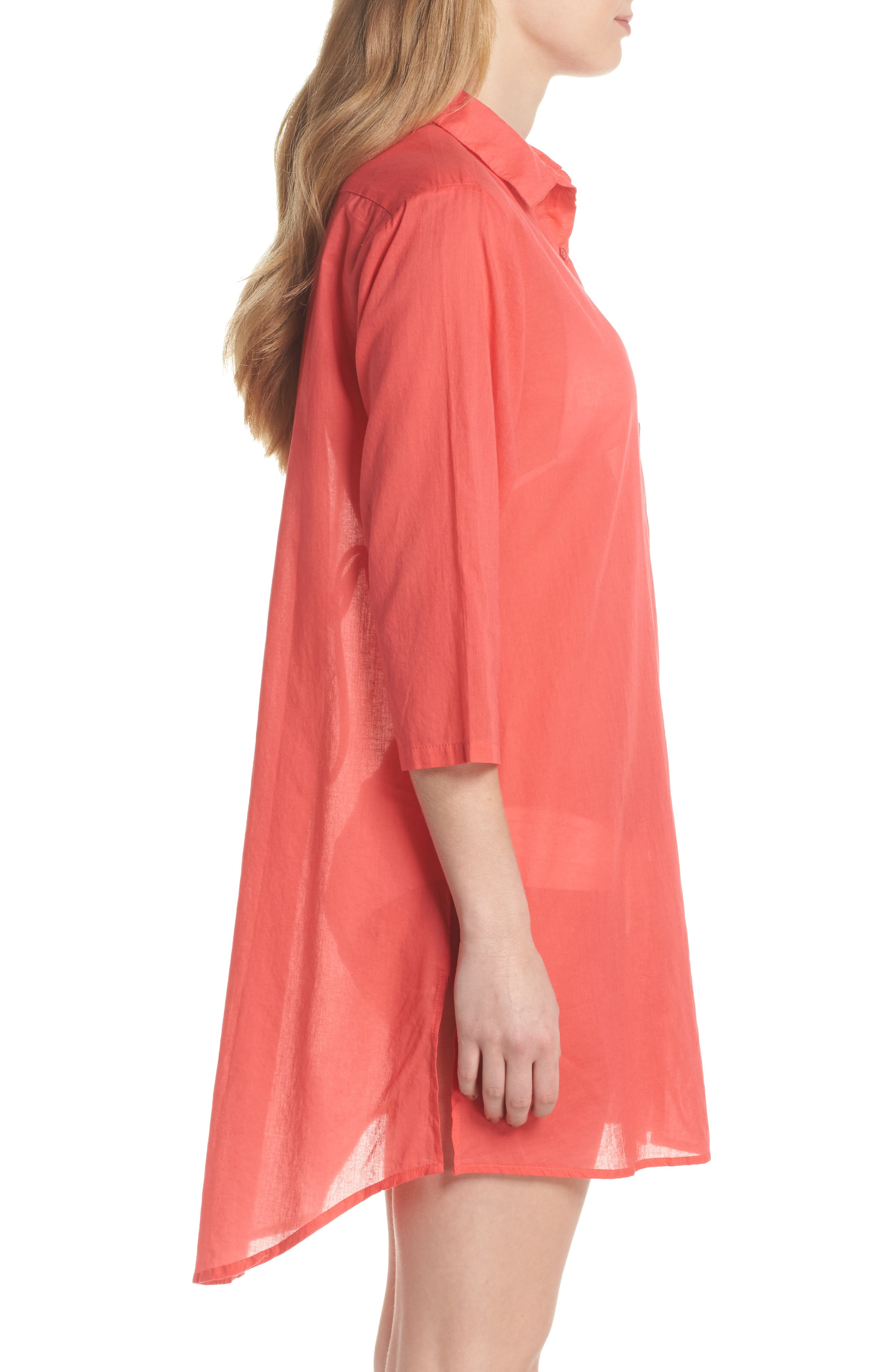 Solid Cover-Up Dress,                             Alternate thumbnail 3, color,                             Hibiscus