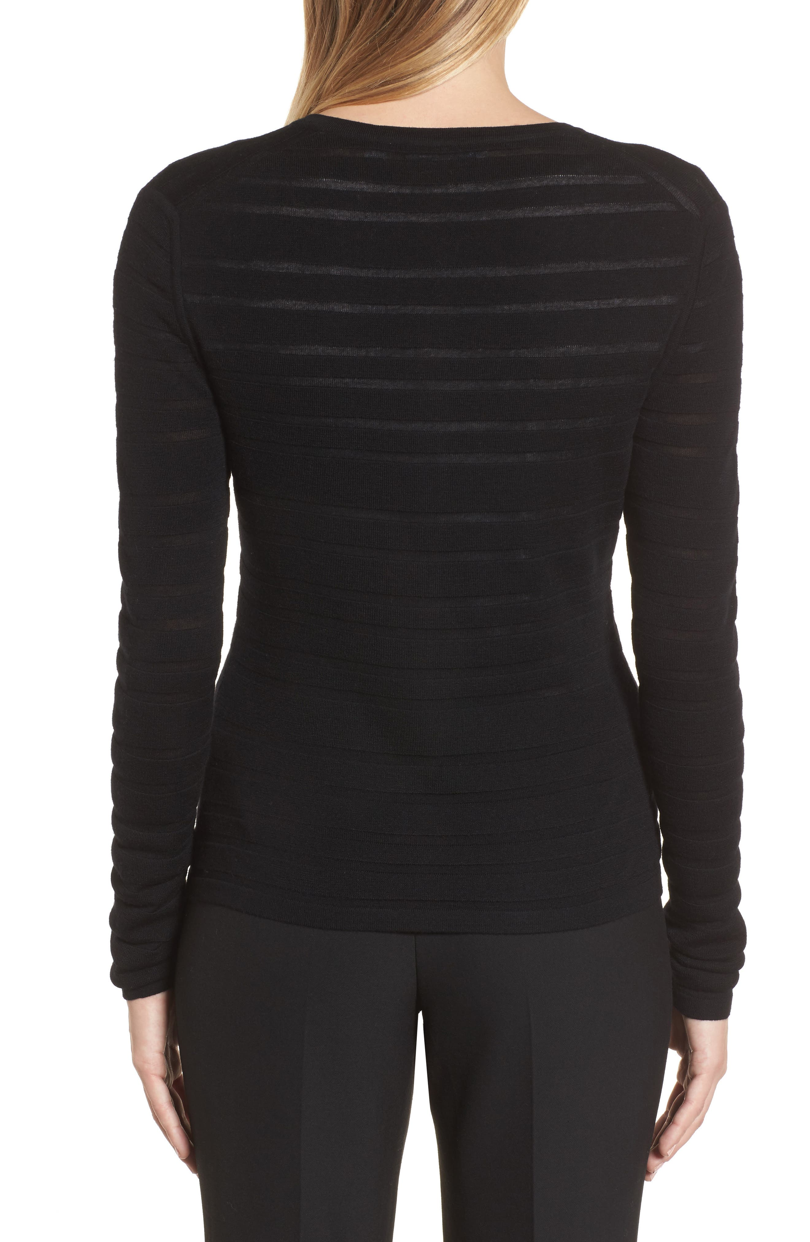 Fahsa Stripe Textured Wool Cardigan,                             Alternate thumbnail 2, color,                             Black