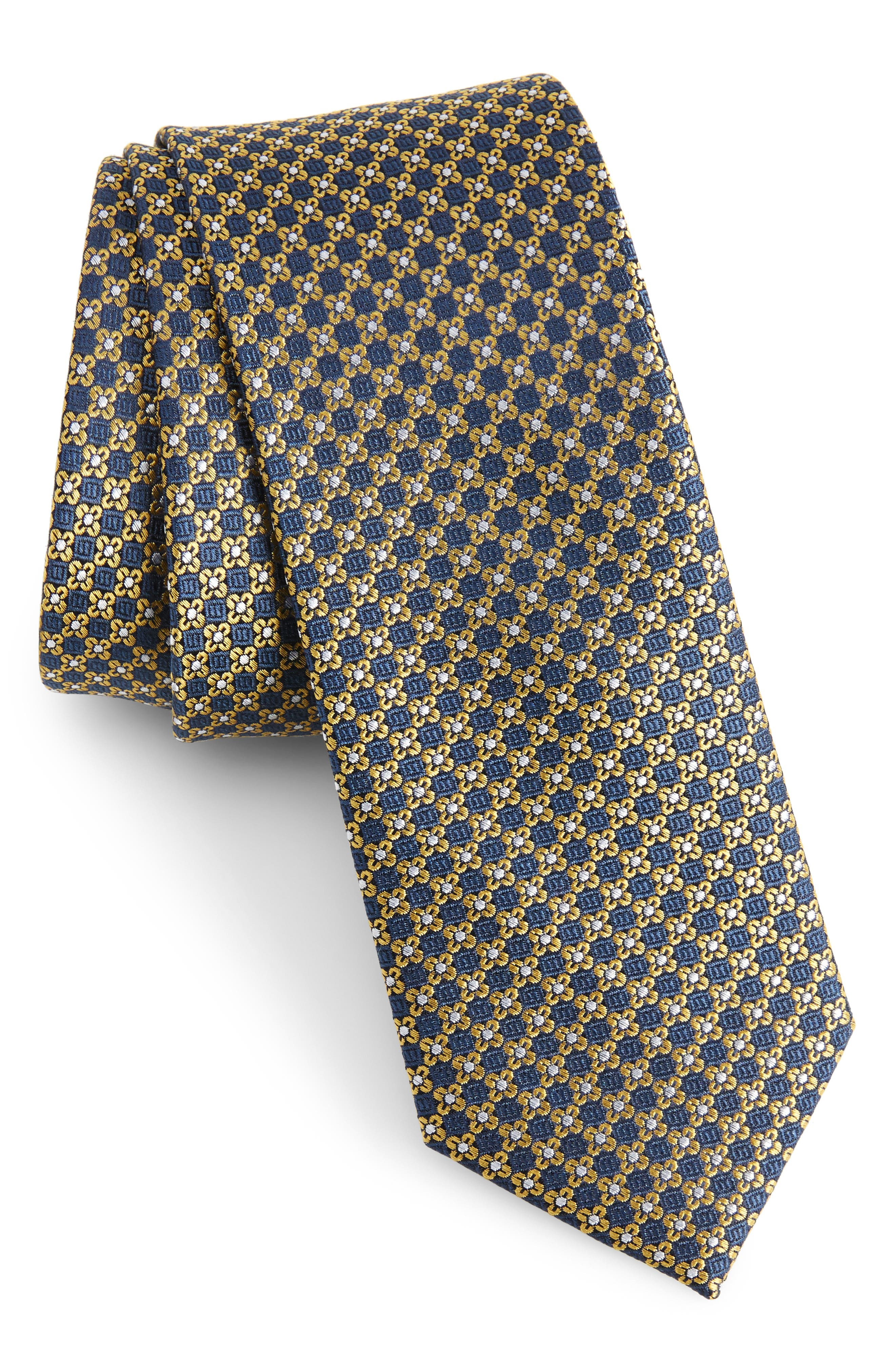 Floral Network Silk Skinny Tie,                             Main thumbnail 1, color,                             Yellow