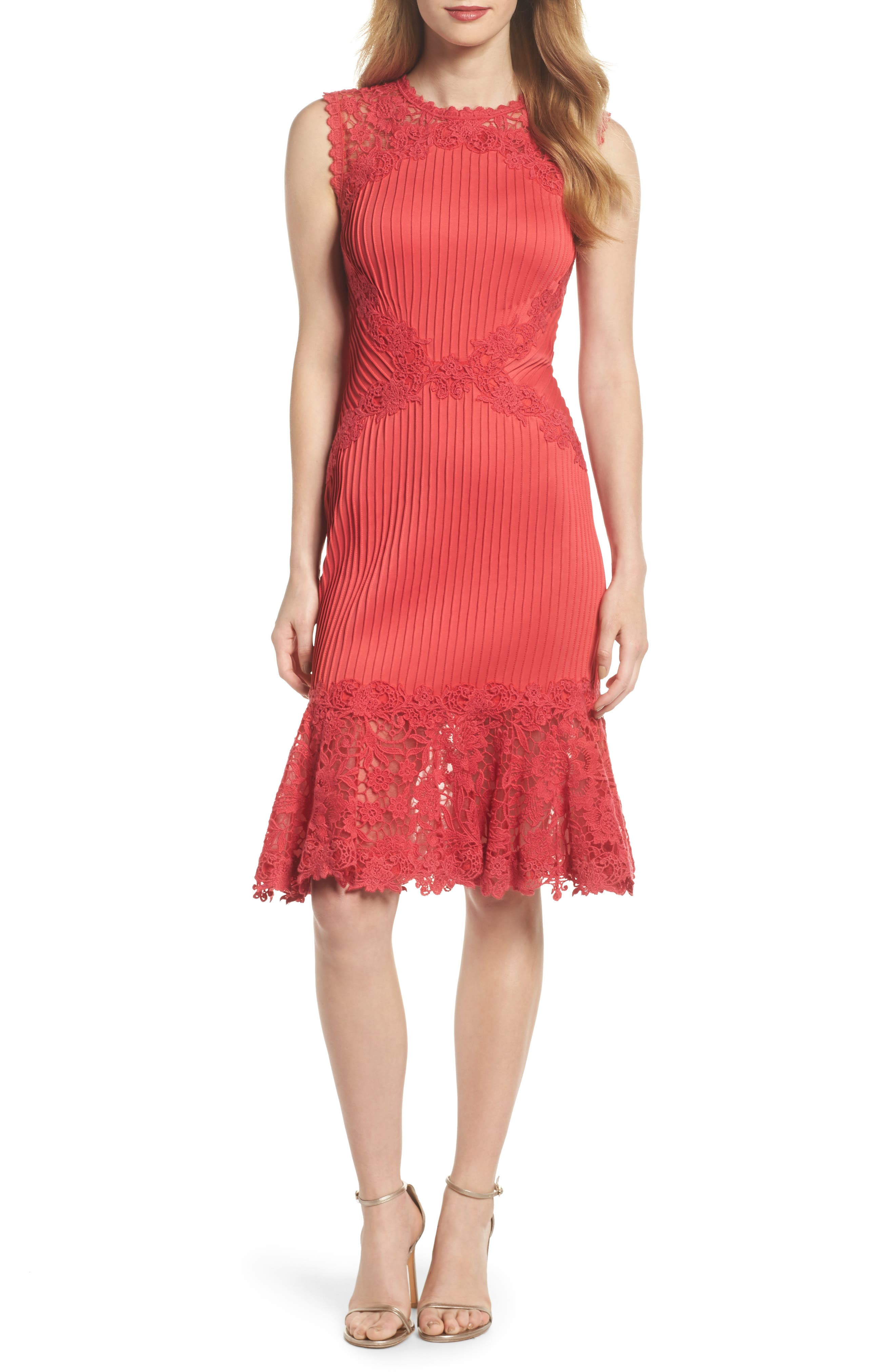 Crochet Trim Pintucked Sheath Dress,                             Main thumbnail 1, color,                             Pop Red