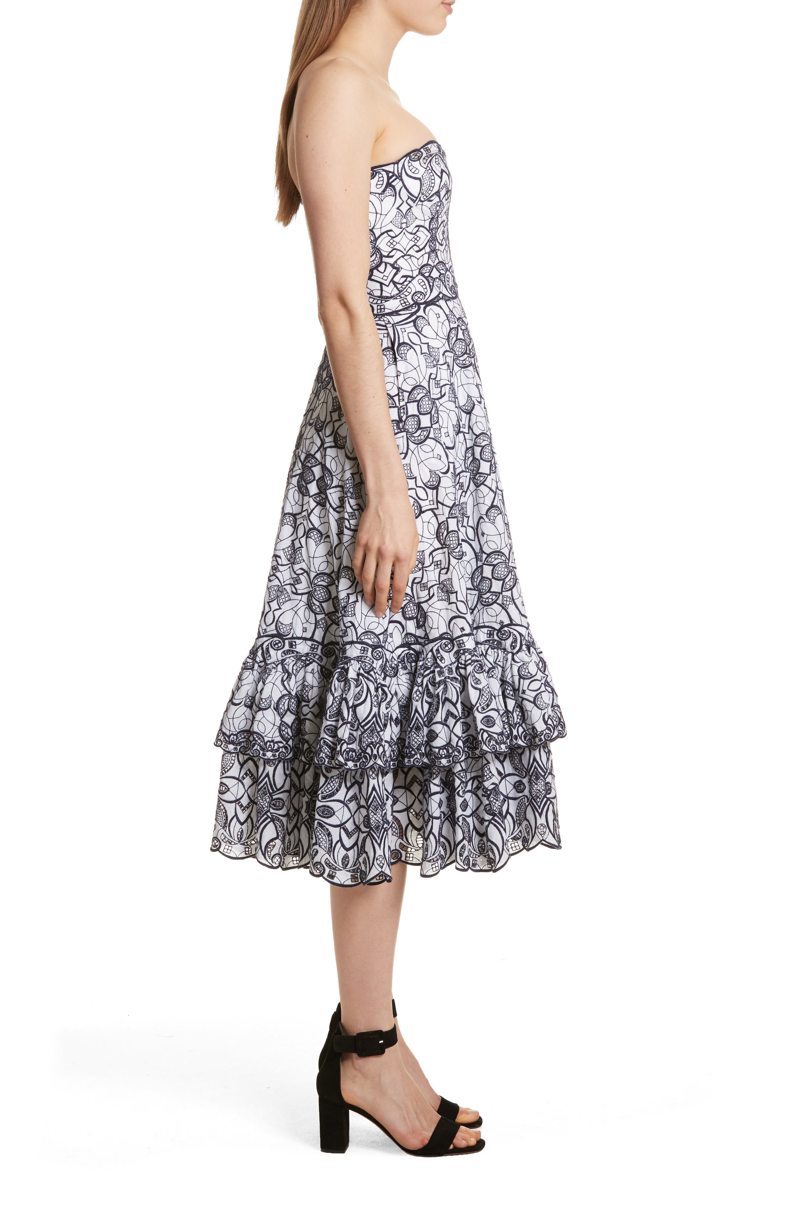 Scallop Hem Embroidered Strapless Dress,                             Alternate thumbnail 3, color,                             White/ Midnight