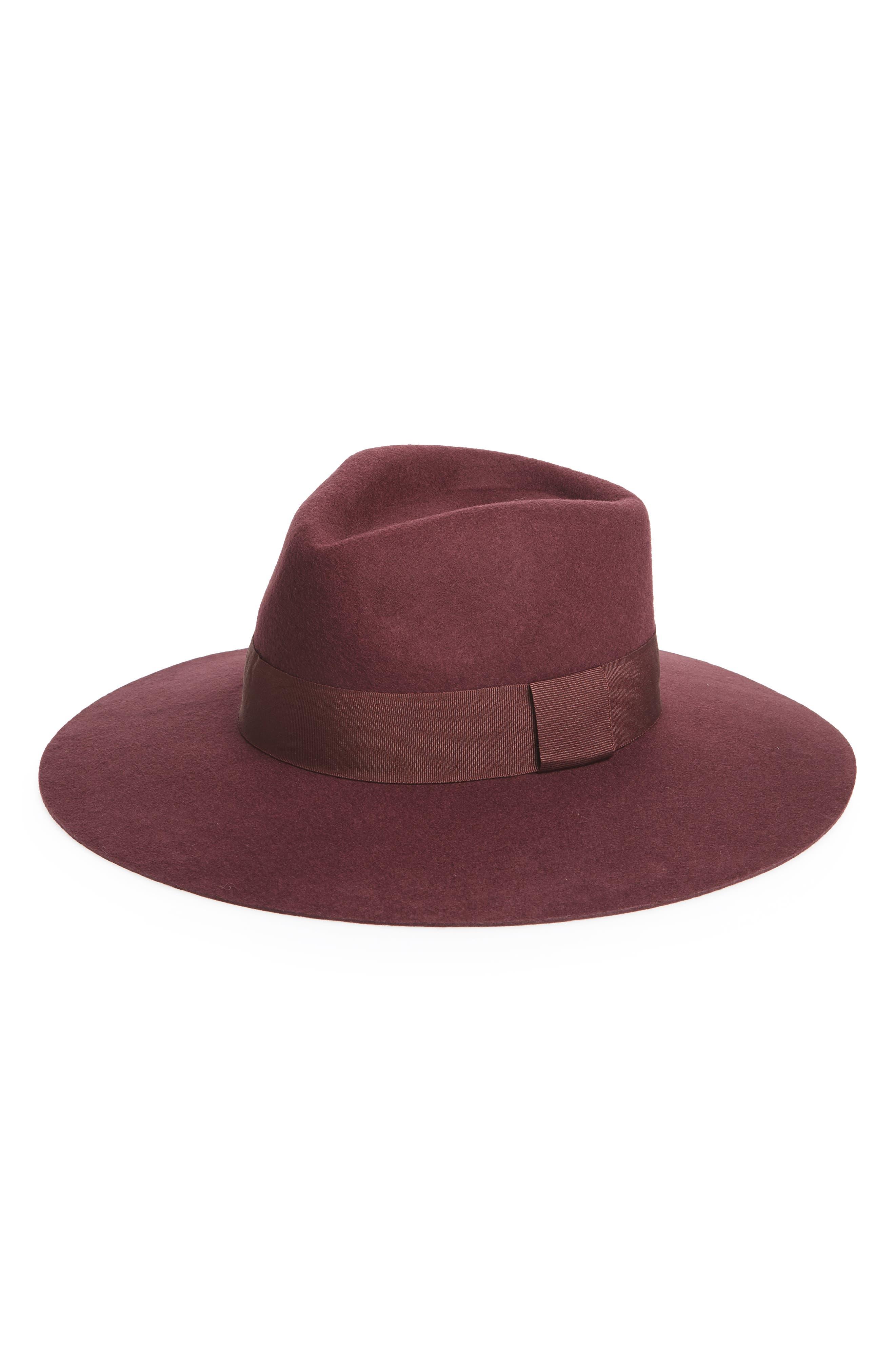Wool Panama Hat,                         Main,                         color, Burgundy