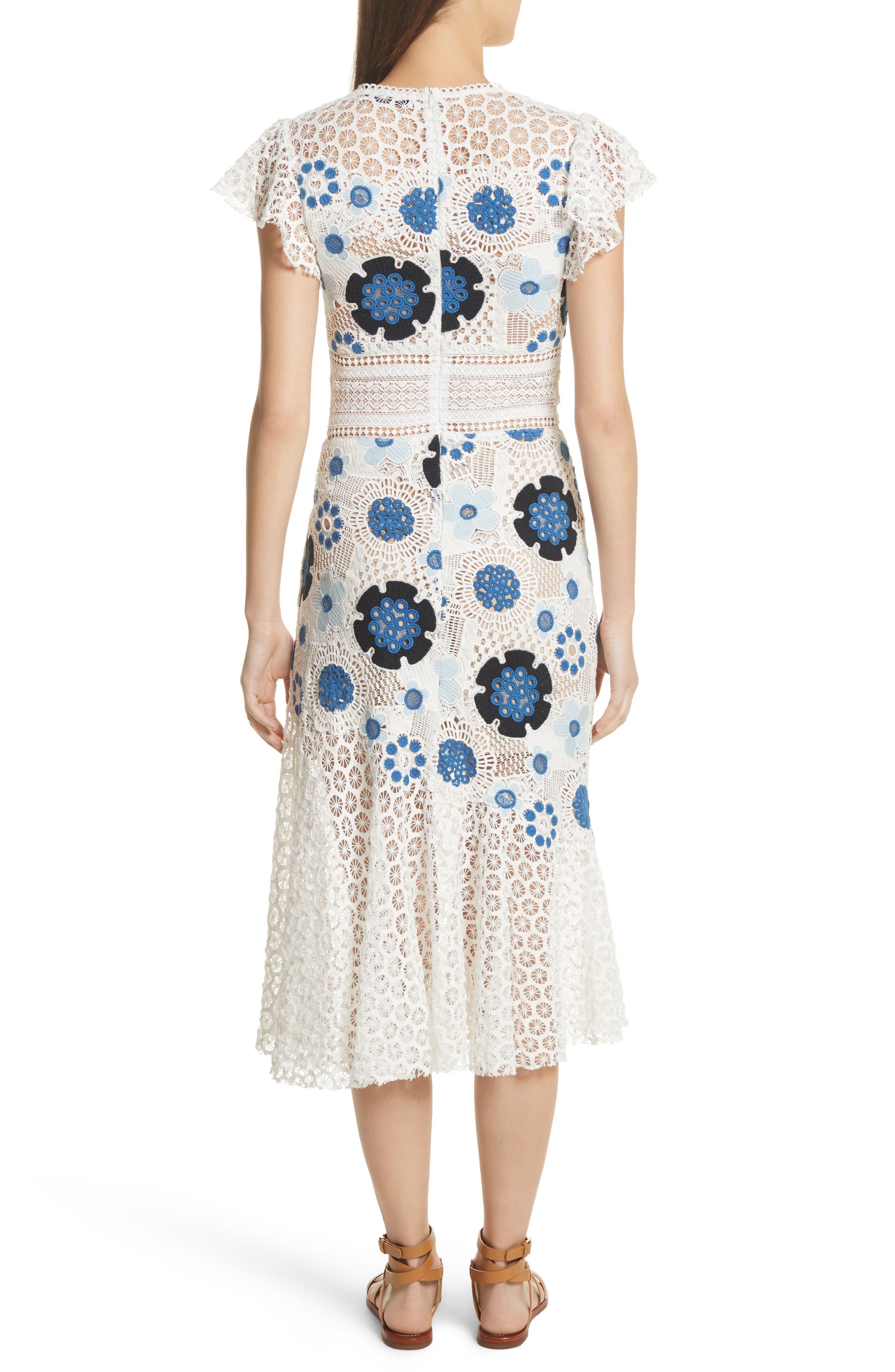 Figgy Crochet Dress,                             Alternate thumbnail 2, color,                             Cream/ Blue Multi