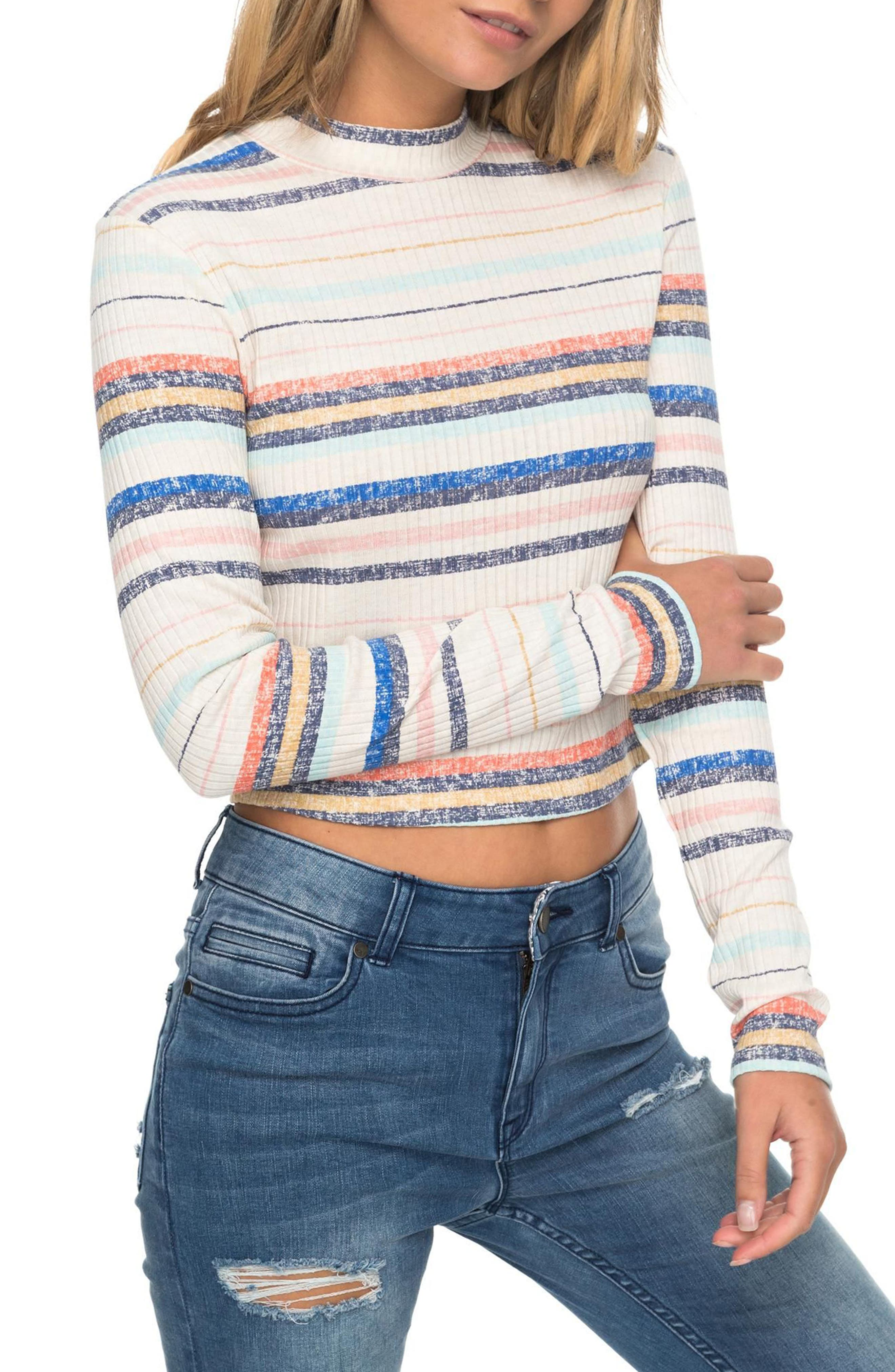 Alternate Image 1 Selected - Roxy Smooth Move Mock Neck Crop Sweater