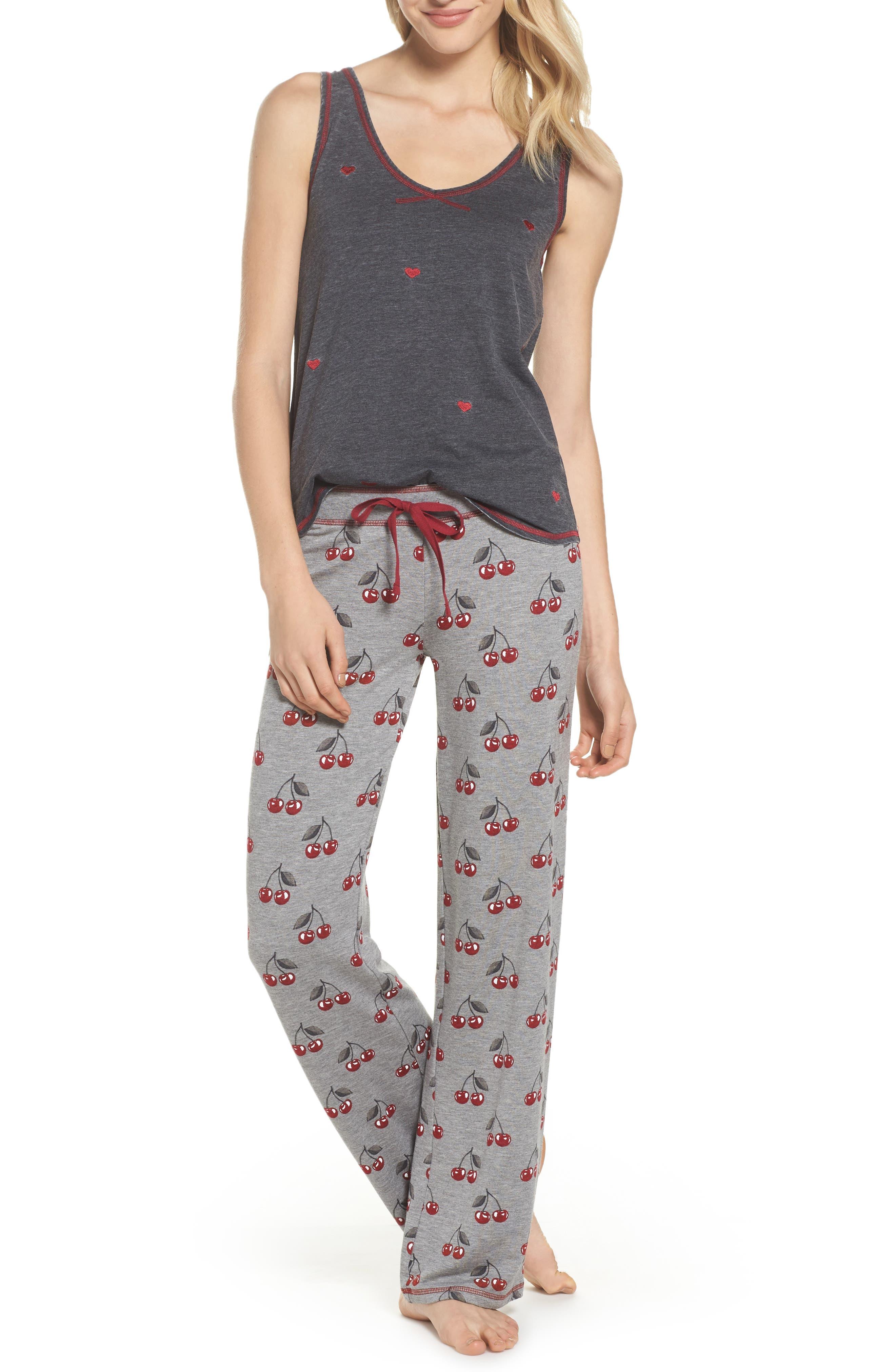 Print Pajama Pants,                             Alternate thumbnail 5, color,                             Heather Grey