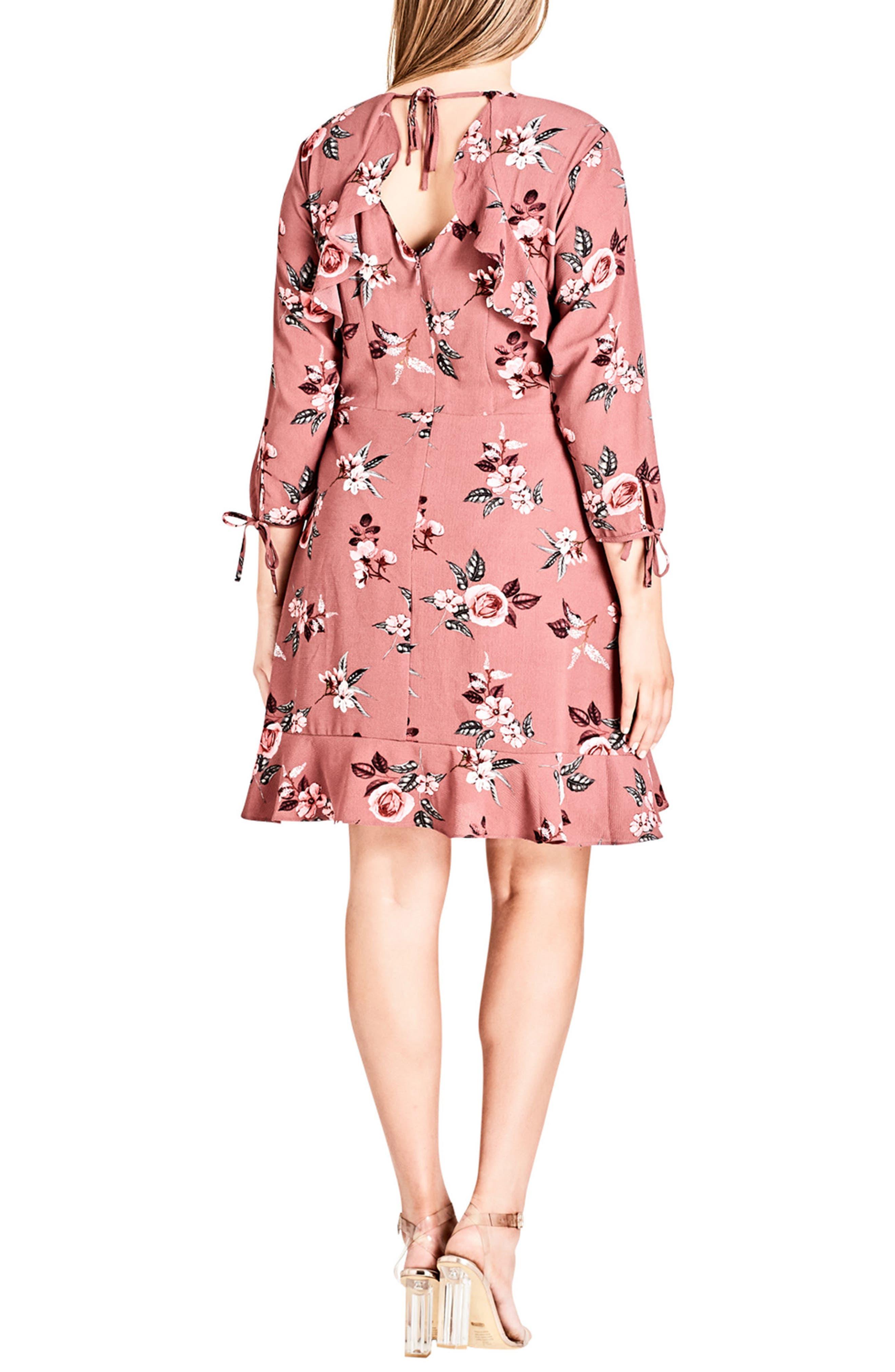 Floral Ruffle Trim Dress,                             Alternate thumbnail 2, color,                             Secret Floral