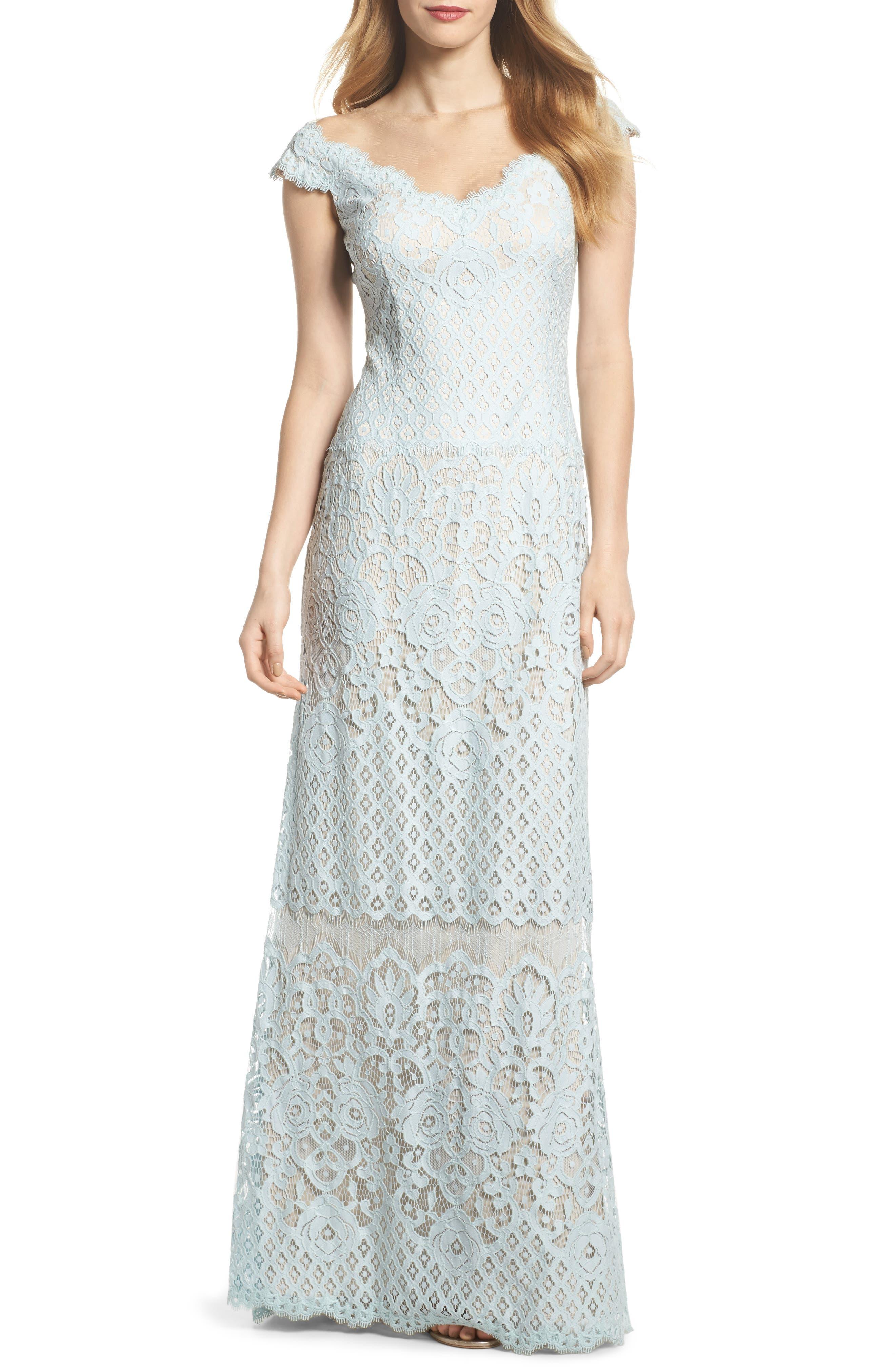 Tadashi Shoji Illusion Neck Lace Column Gown
