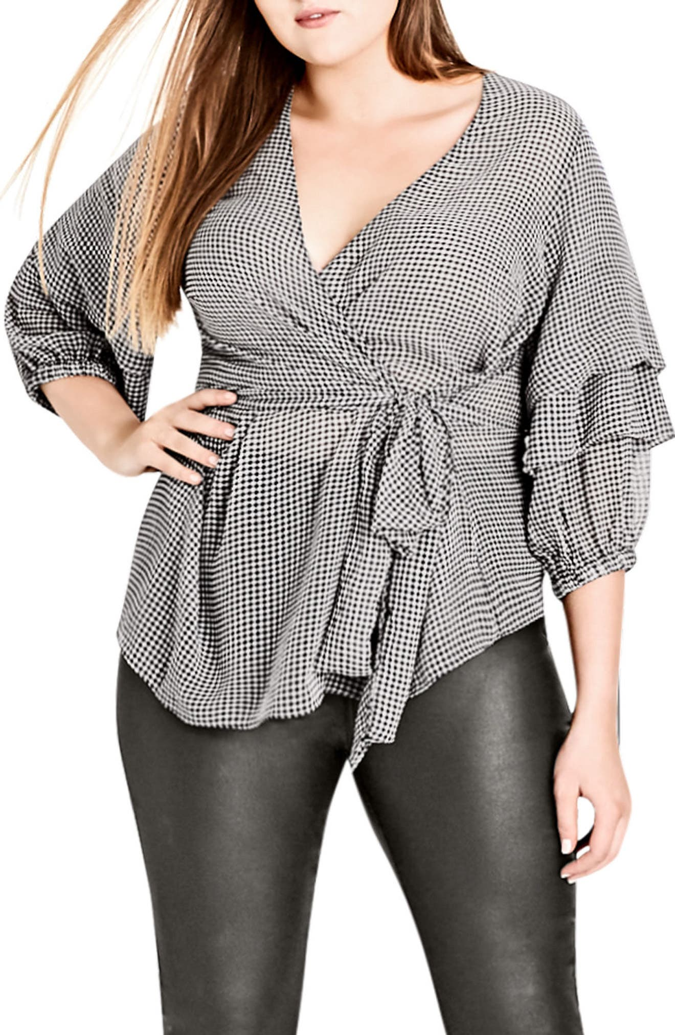 My Desire Check Print Wrap Top,                         Main,                         color, Gingham