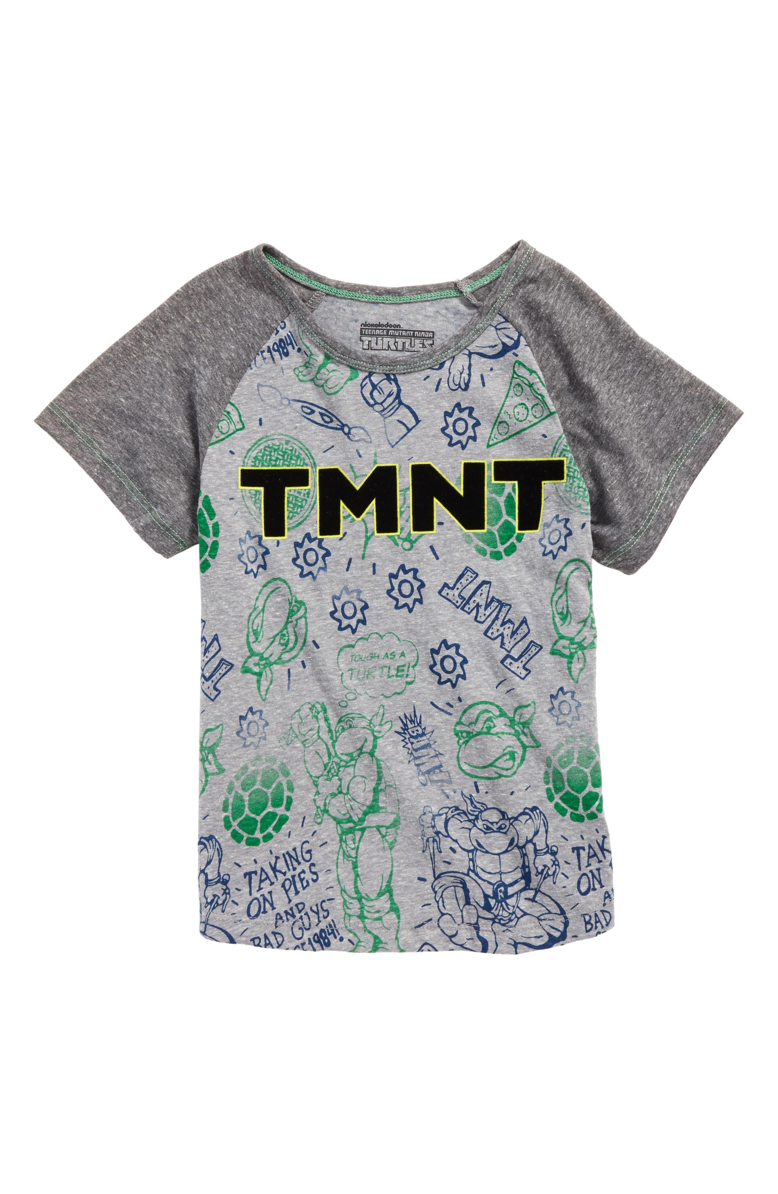 - TMNT All Over Print Raglan T-Shirt,                         Main,                         color, Heather Grey