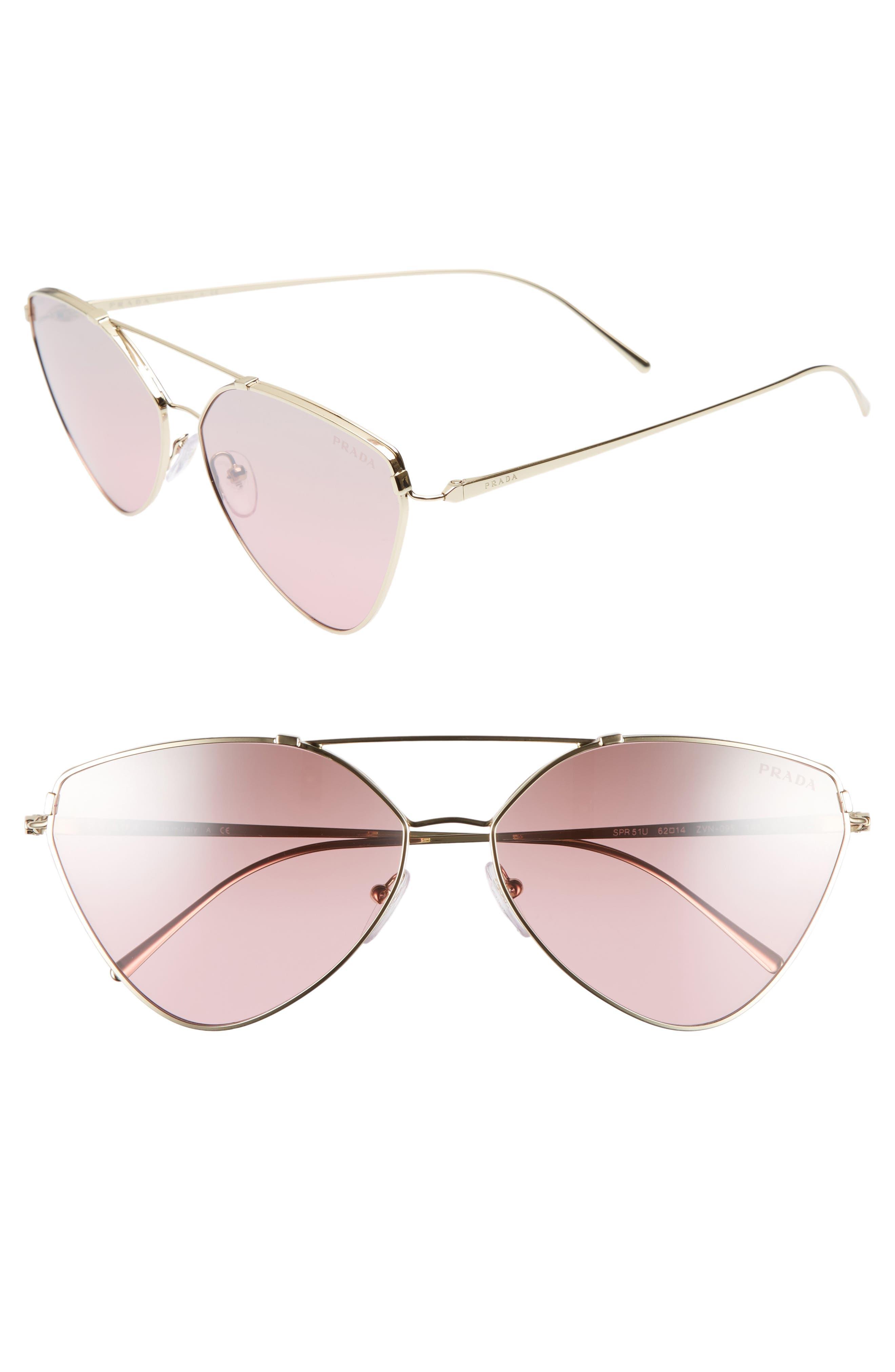 62mm Gradient Aviator Sunglasses,                             Main thumbnail 1, color,                             Pale Gold