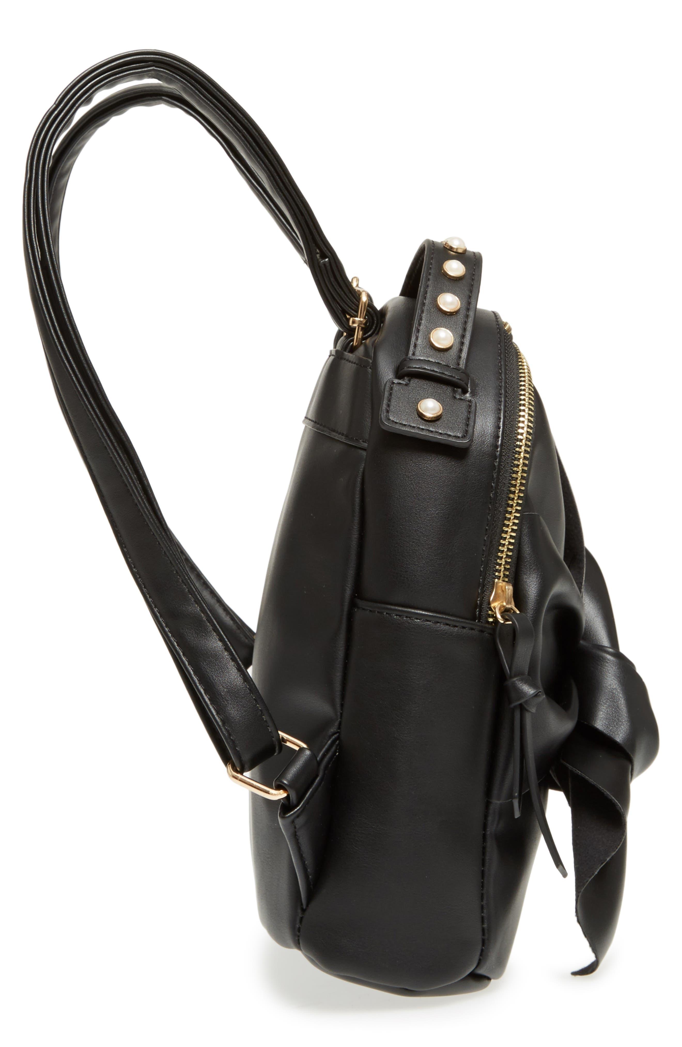 Imitation Pearl Handle Bow Mini Backpack,                             Alternate thumbnail 5, color,                             Black
