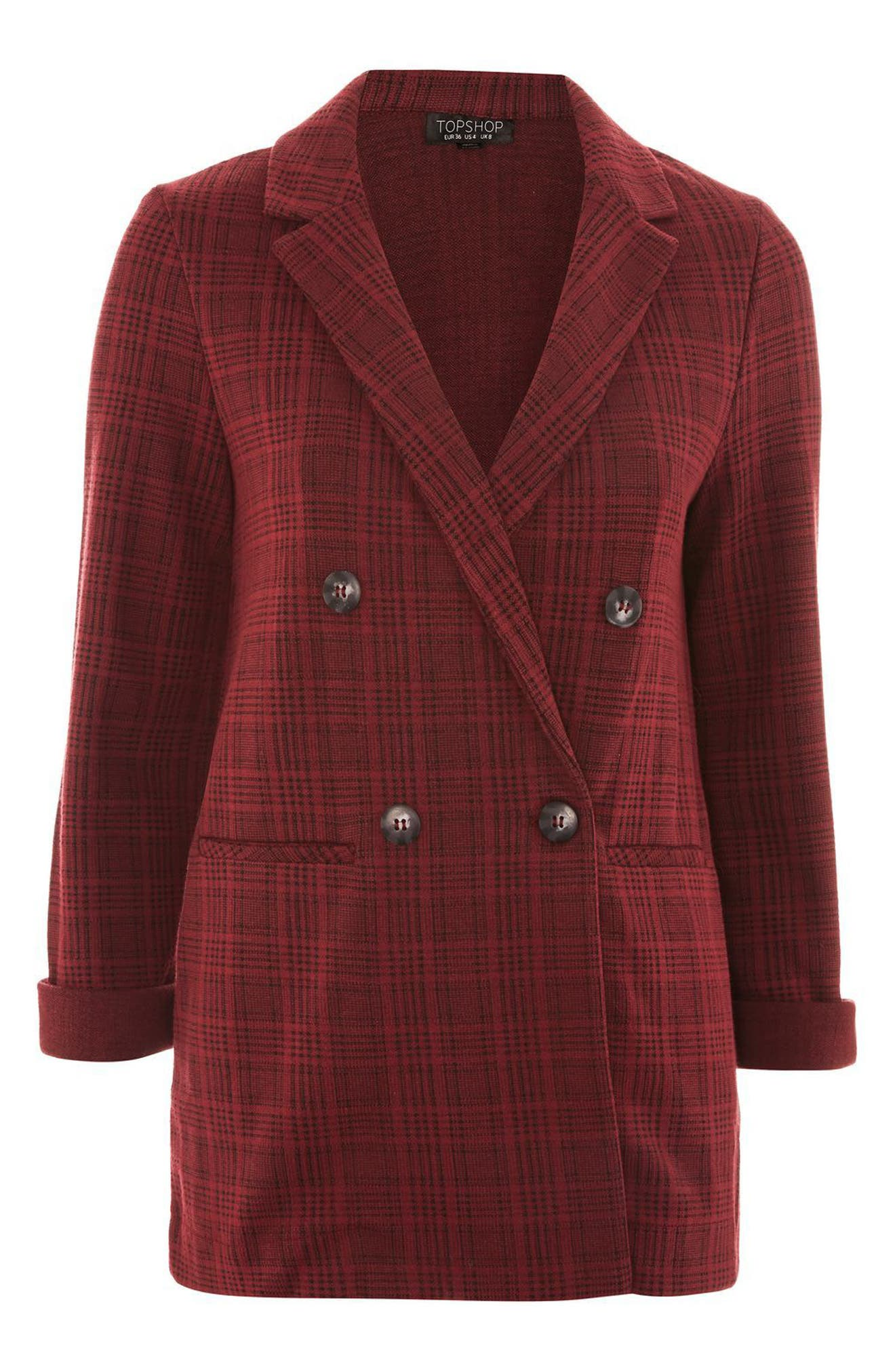 Plaid Double Breasted Jacket,                             Alternate thumbnail 5, color,                             Red Multi