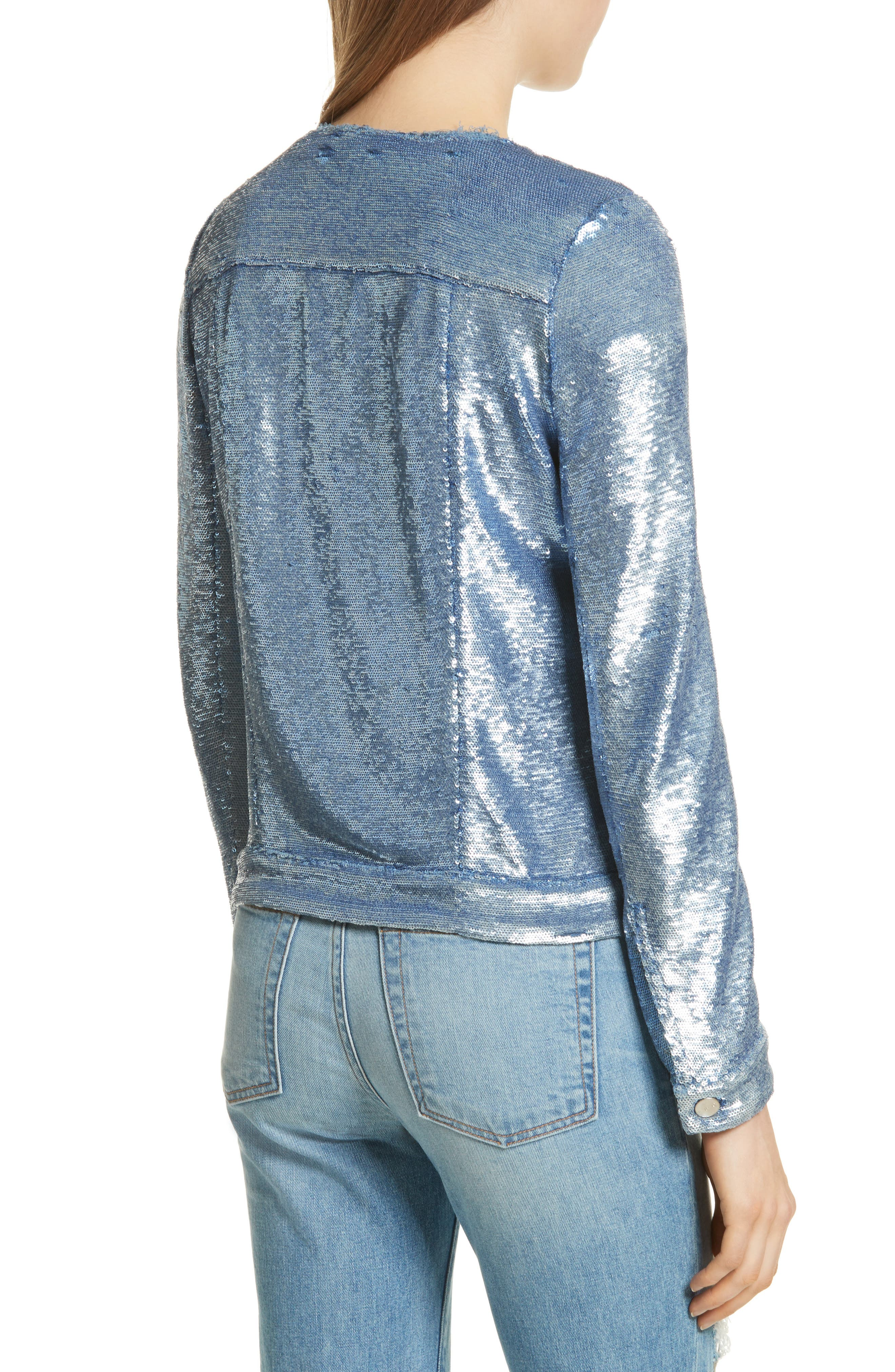 Dalome Sequin Jacket,                             Alternate thumbnail 2, color,                             Blushed Blue