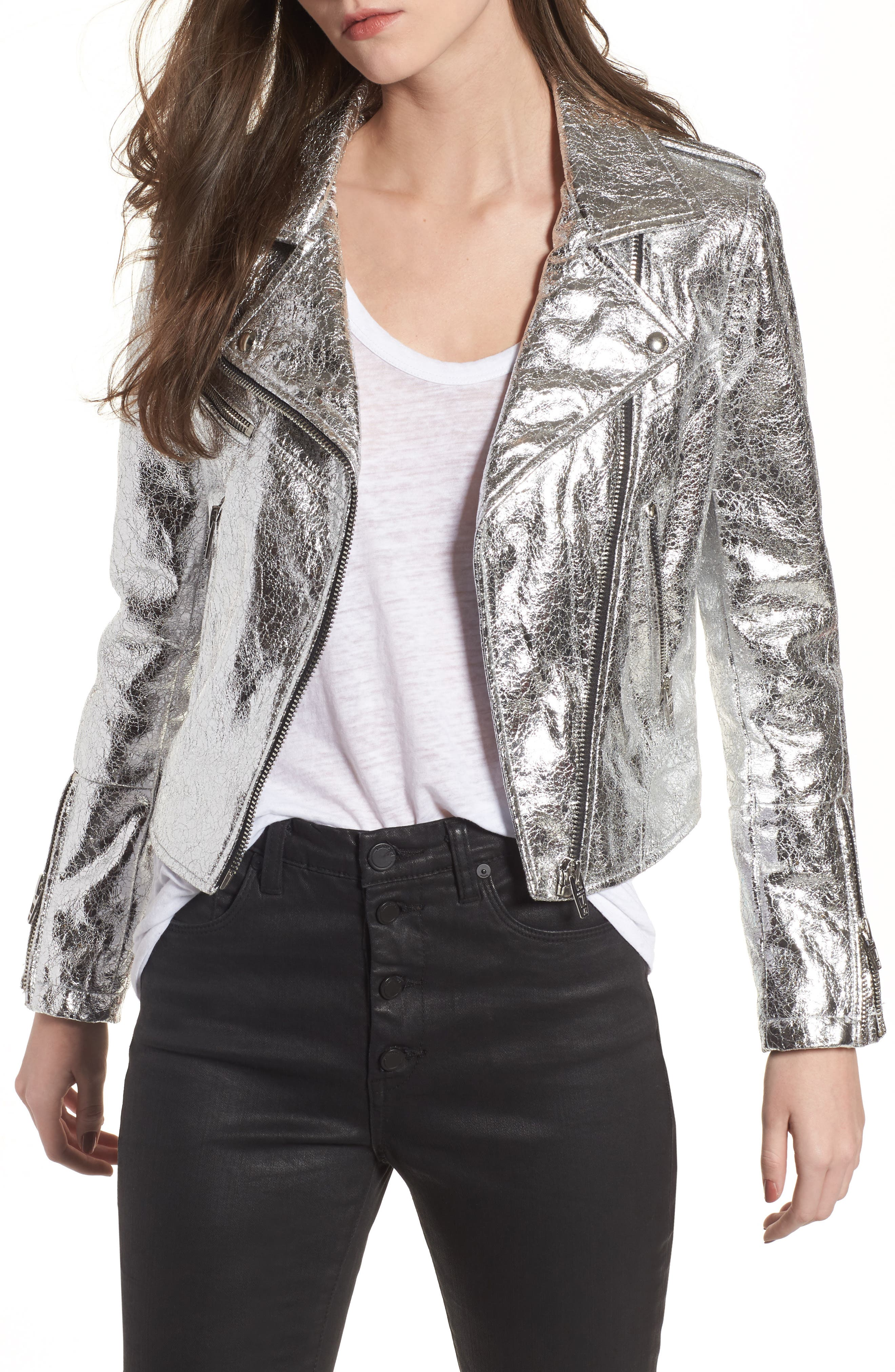 Metallic Faux Leather Moto Jacket,                         Main,                         color, Silver