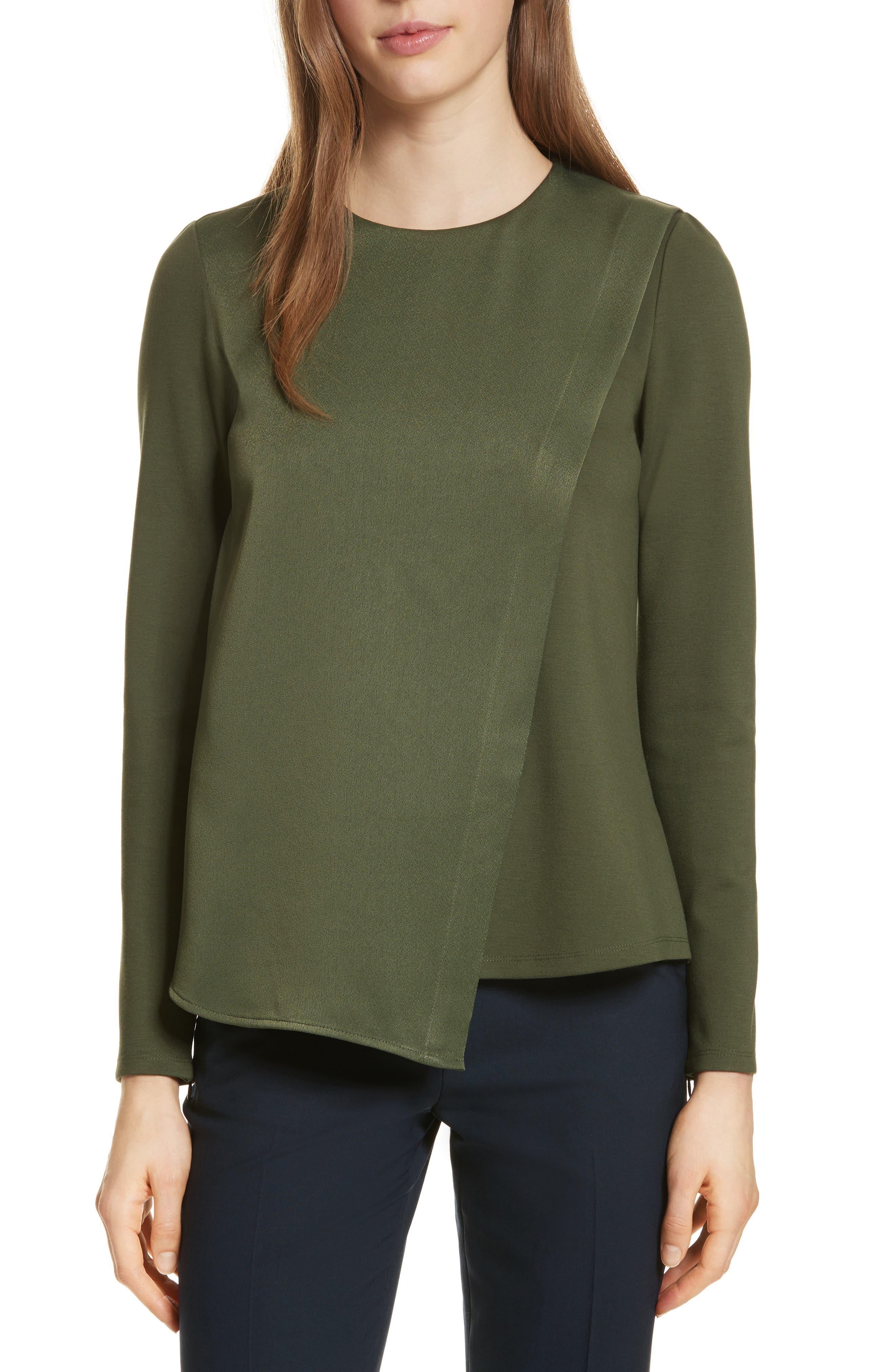 Asymmetrical Layer Top,                         Main,                         color, Khaki