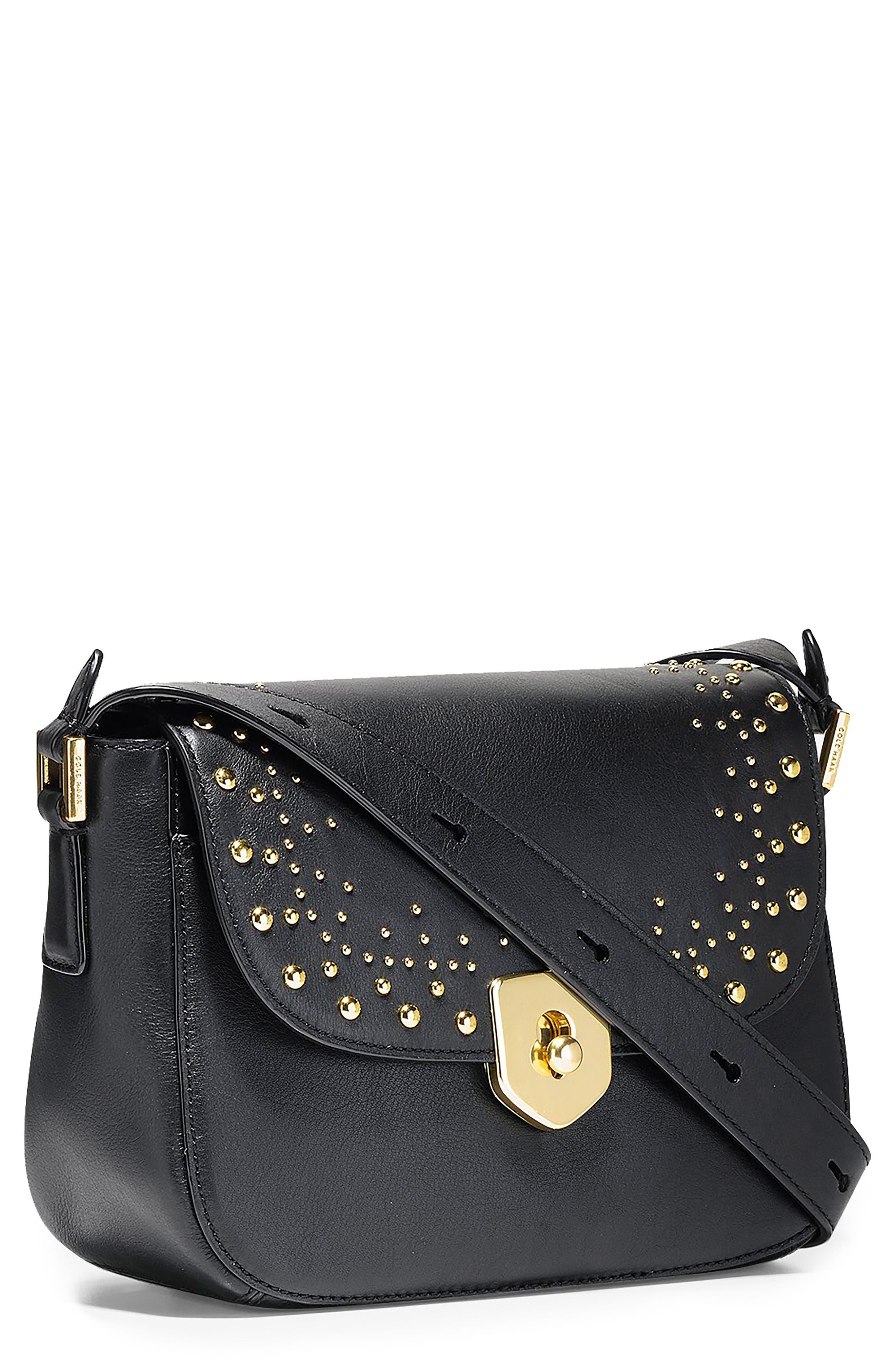 Mini Marli Studded Leather Saddle Bag,                         Main,                         color, Black