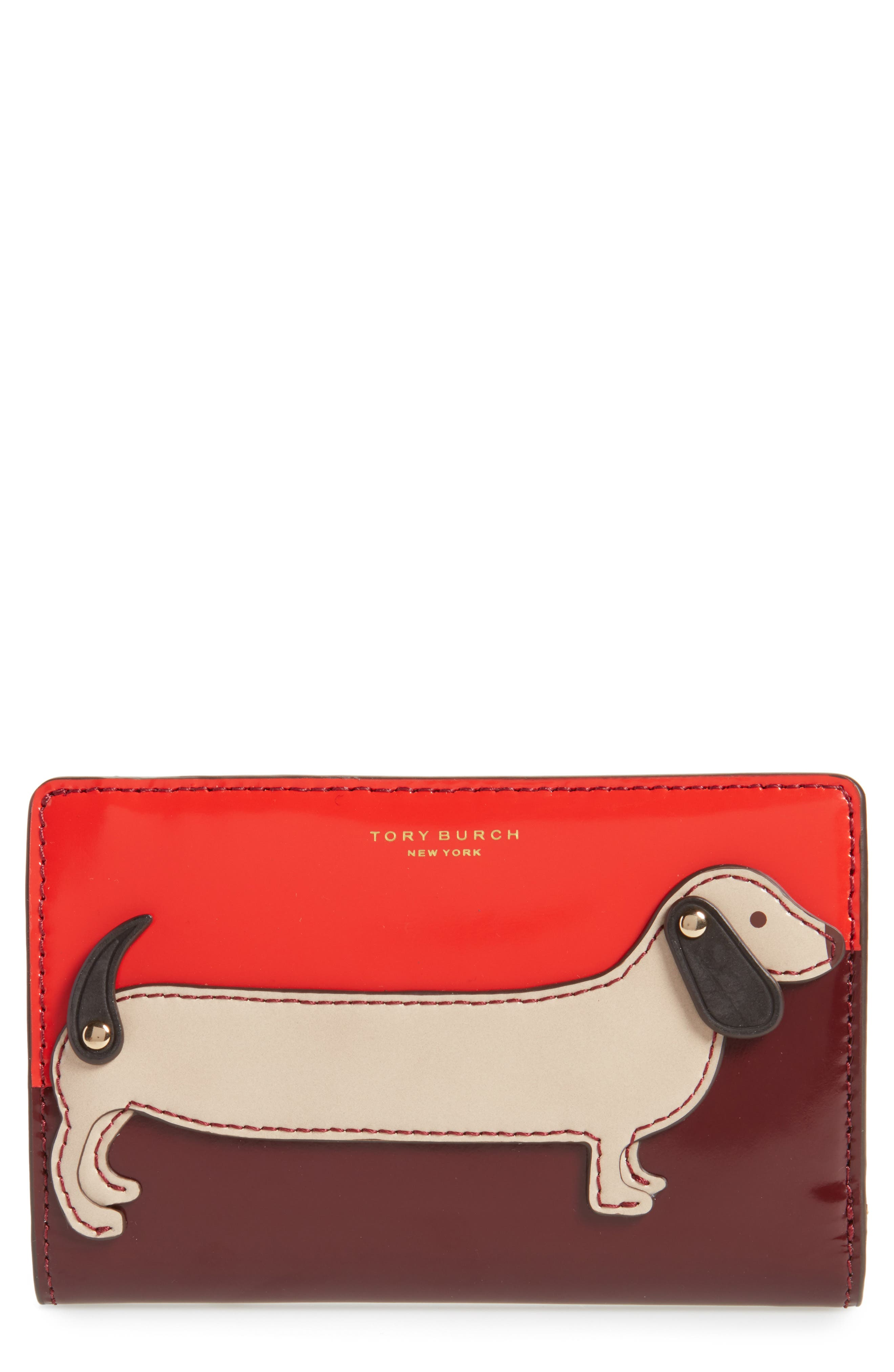 Medium McGraw Dachshund Slim Leather Wallet,                             Main thumbnail 1, color,                             Liberty Red