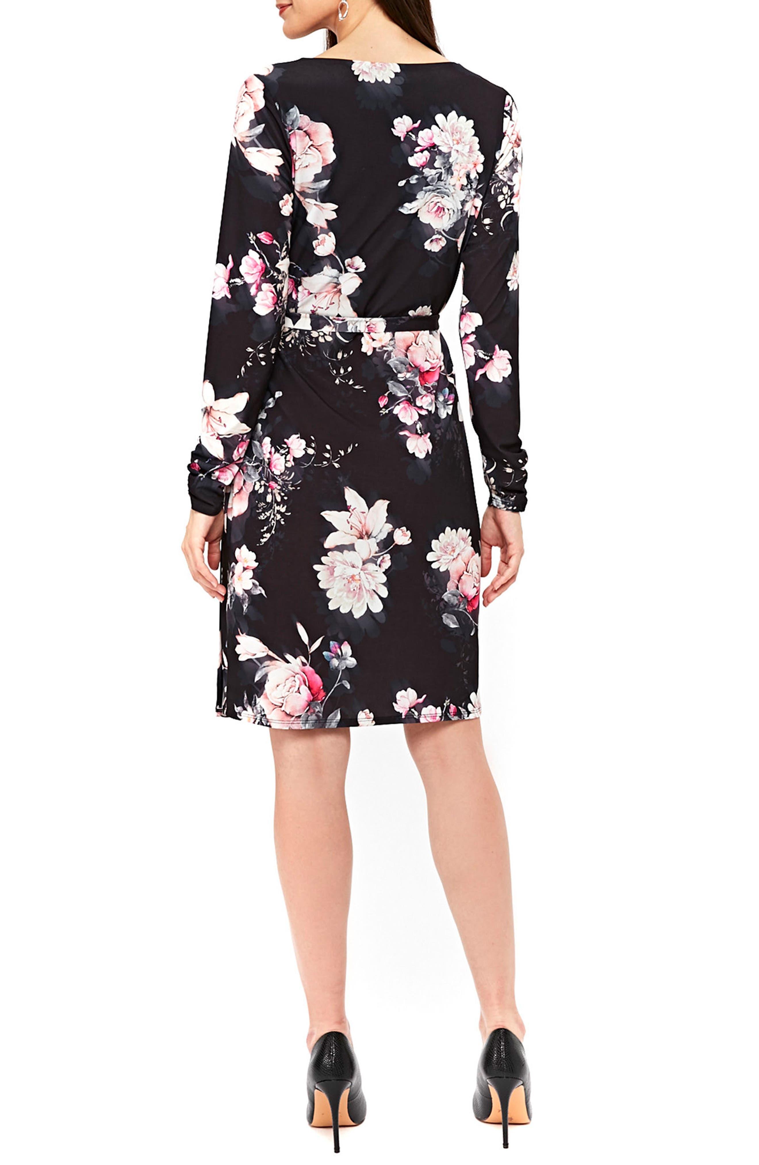 Rose Print Faux Wrap Dress,                             Alternate thumbnail 2, color,                             Black
