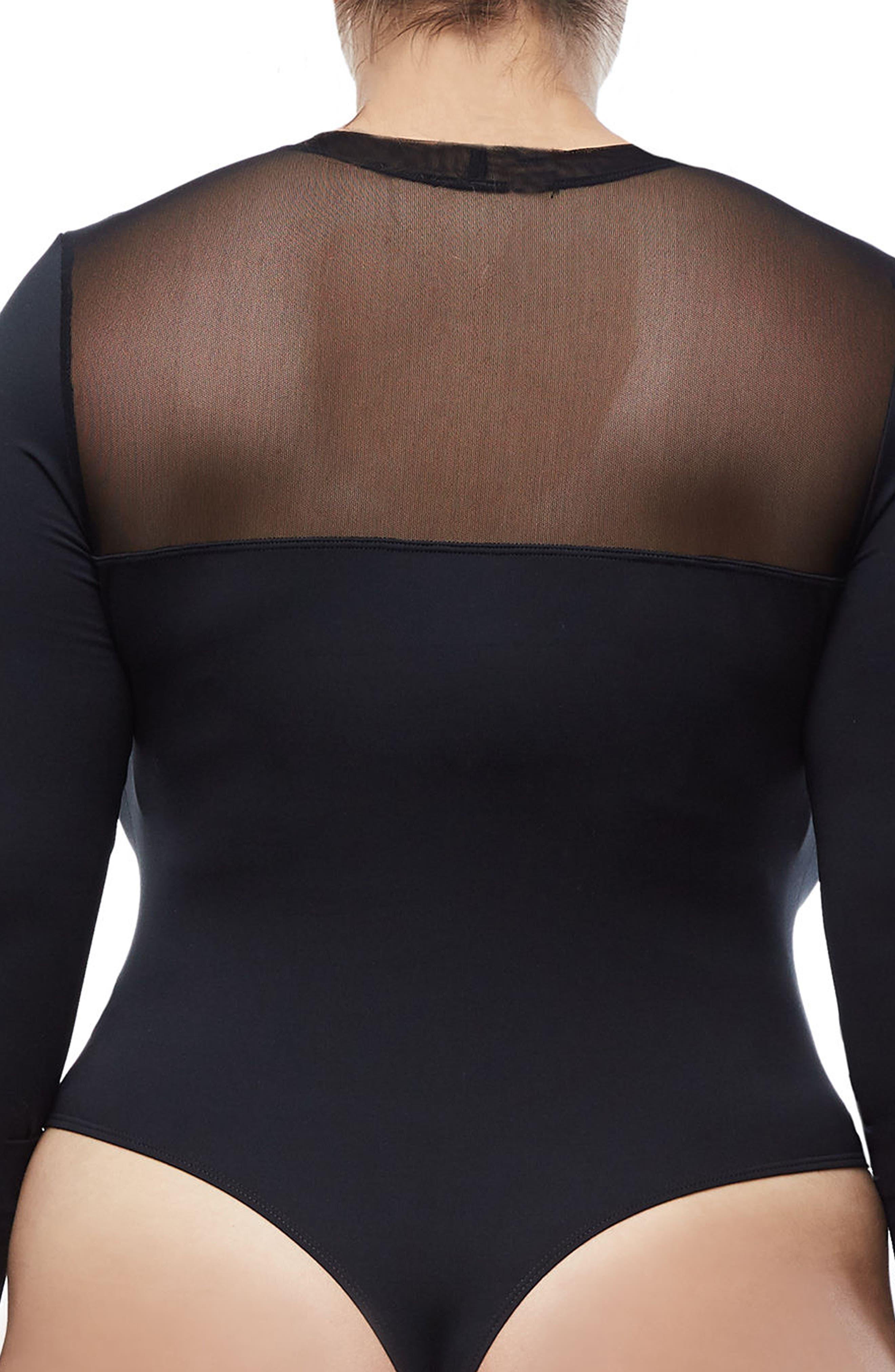 Mixed Mesh Bodysuit,                             Alternate thumbnail 3, color,                             Black