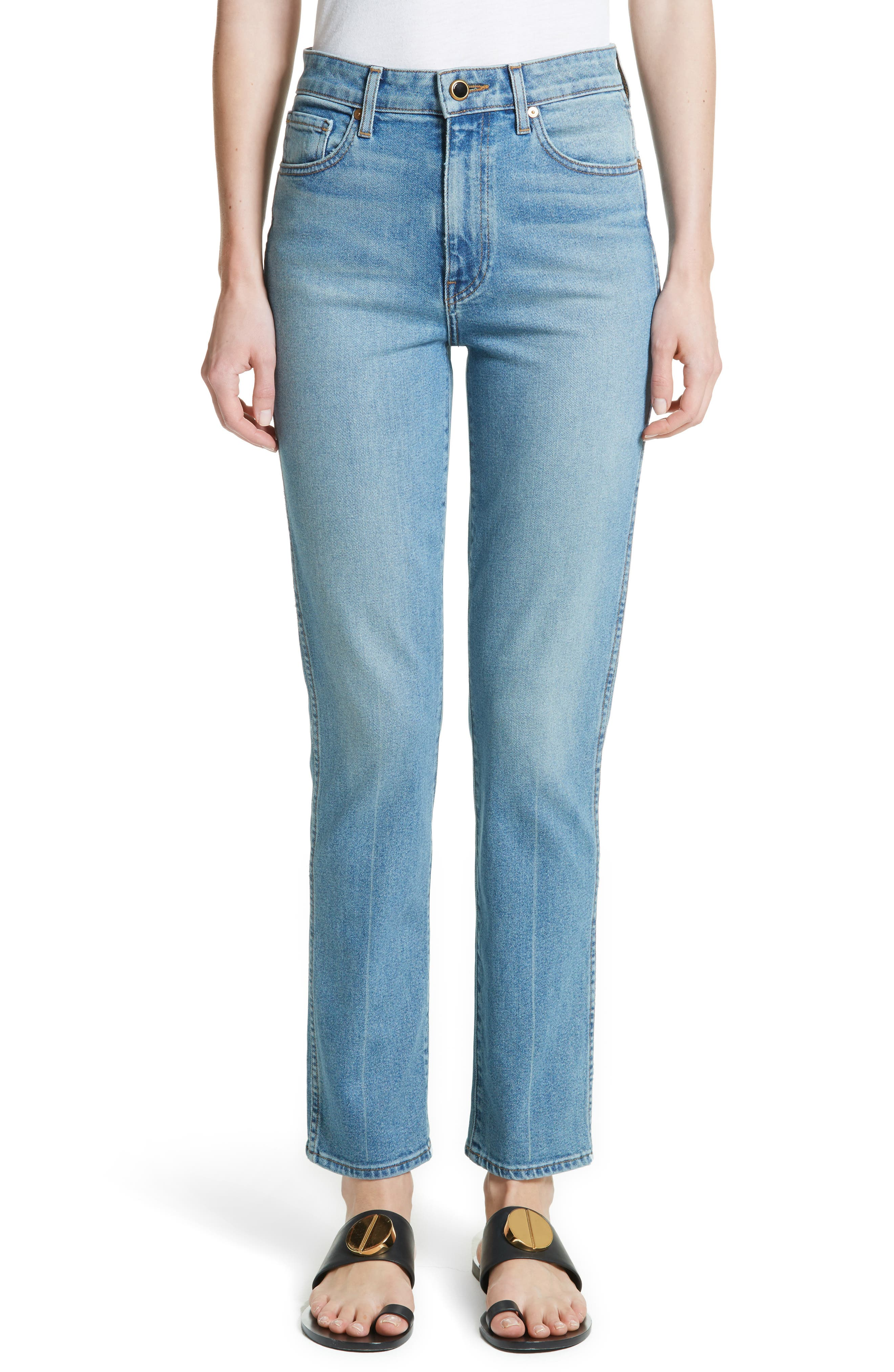 Victoria Straight Leg Jeans,                         Main,                         color, Medium Crease