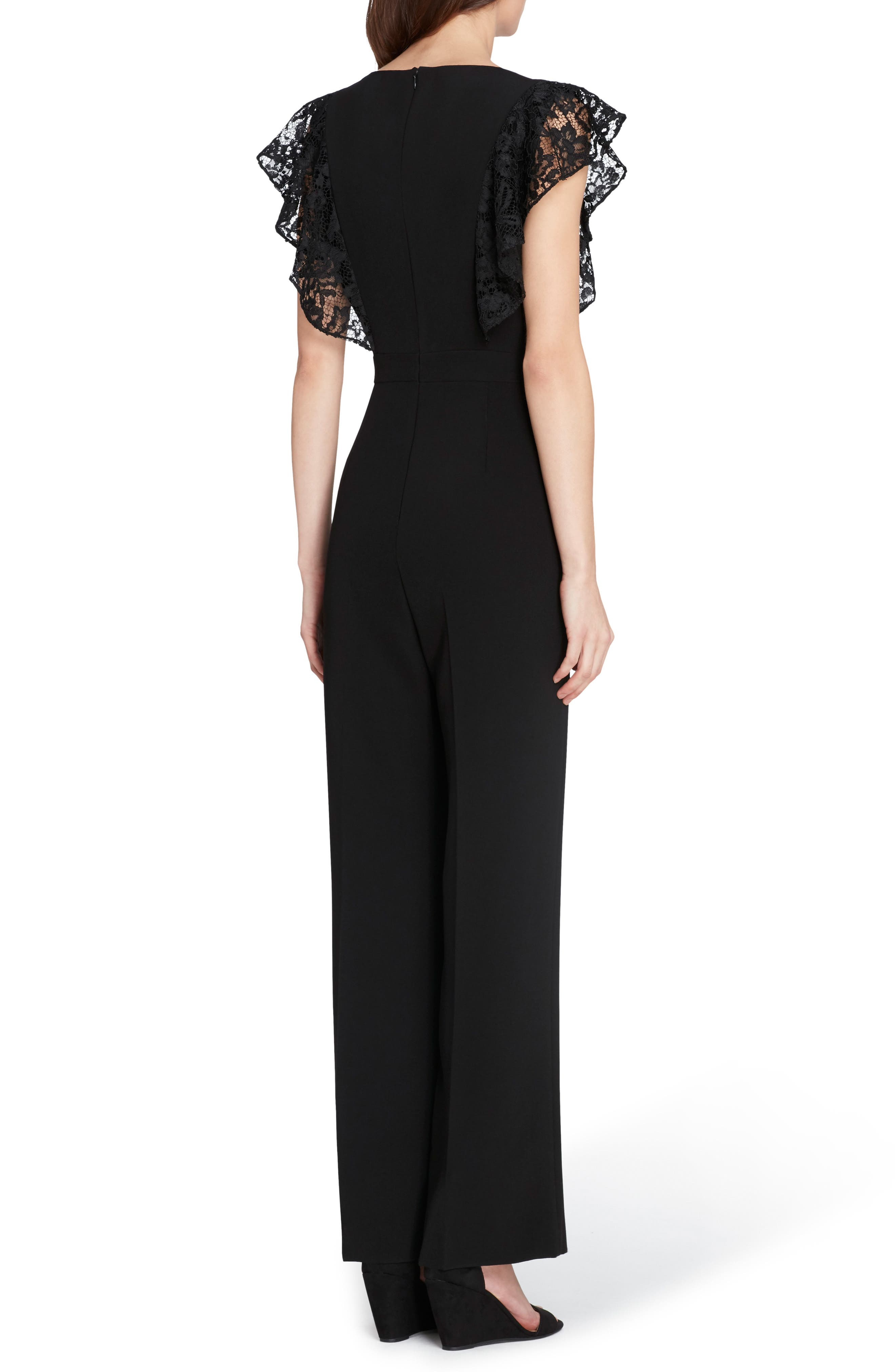 Alternate Image 2  - Tahari Lace Sleeve Crepe Jumpsuit