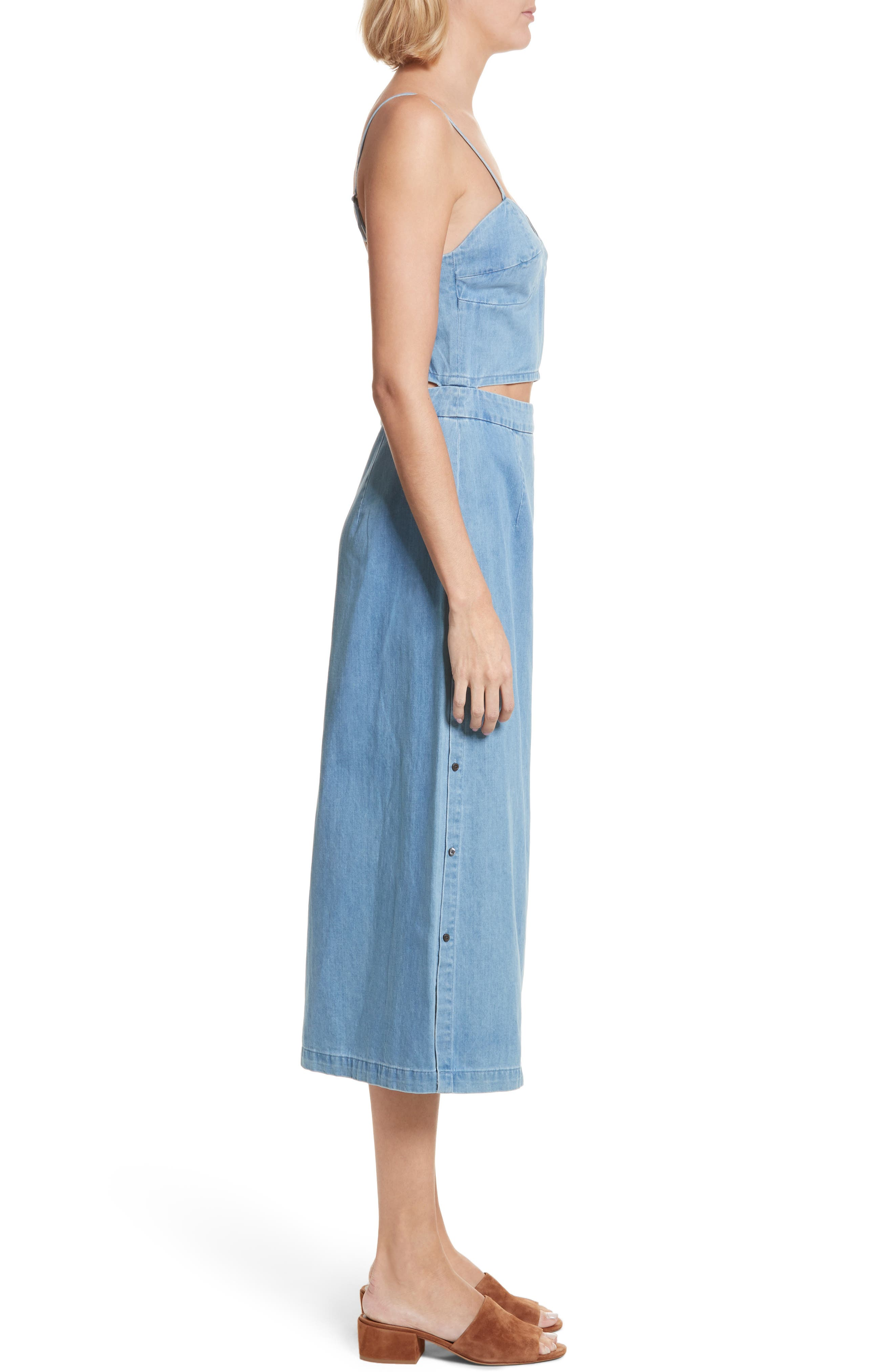 Peekaboo Chambray Midi Dress,                             Alternate thumbnail 3, color,                             Augustine