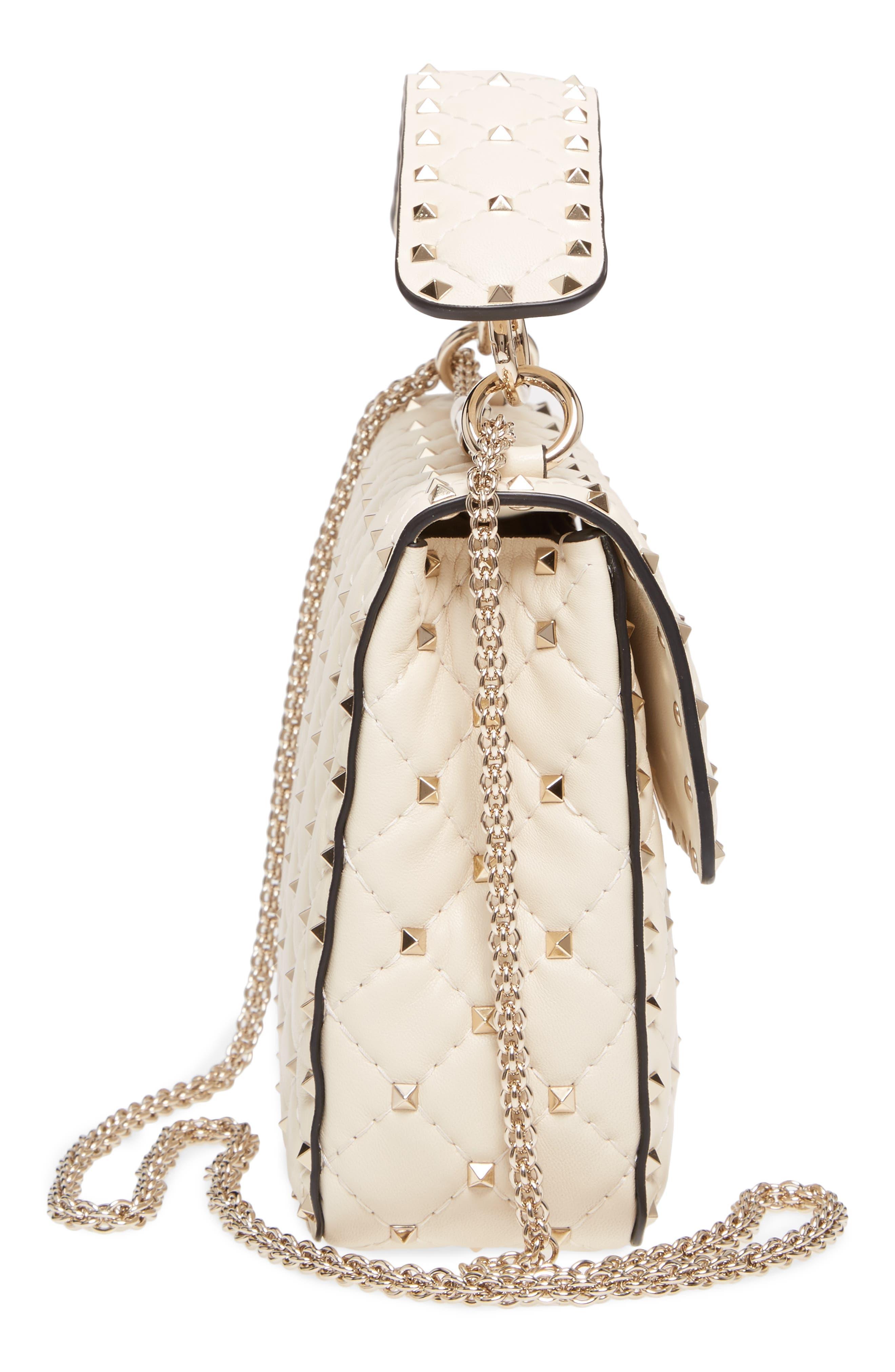 Medium Rockstud Matelassé Quilted Leather Shoulder Bag,                             Alternate thumbnail 5, color,                             Ivory
