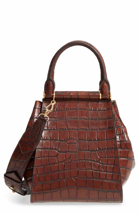 Max Mara Small Anita Croc Embossed Leather Satchel