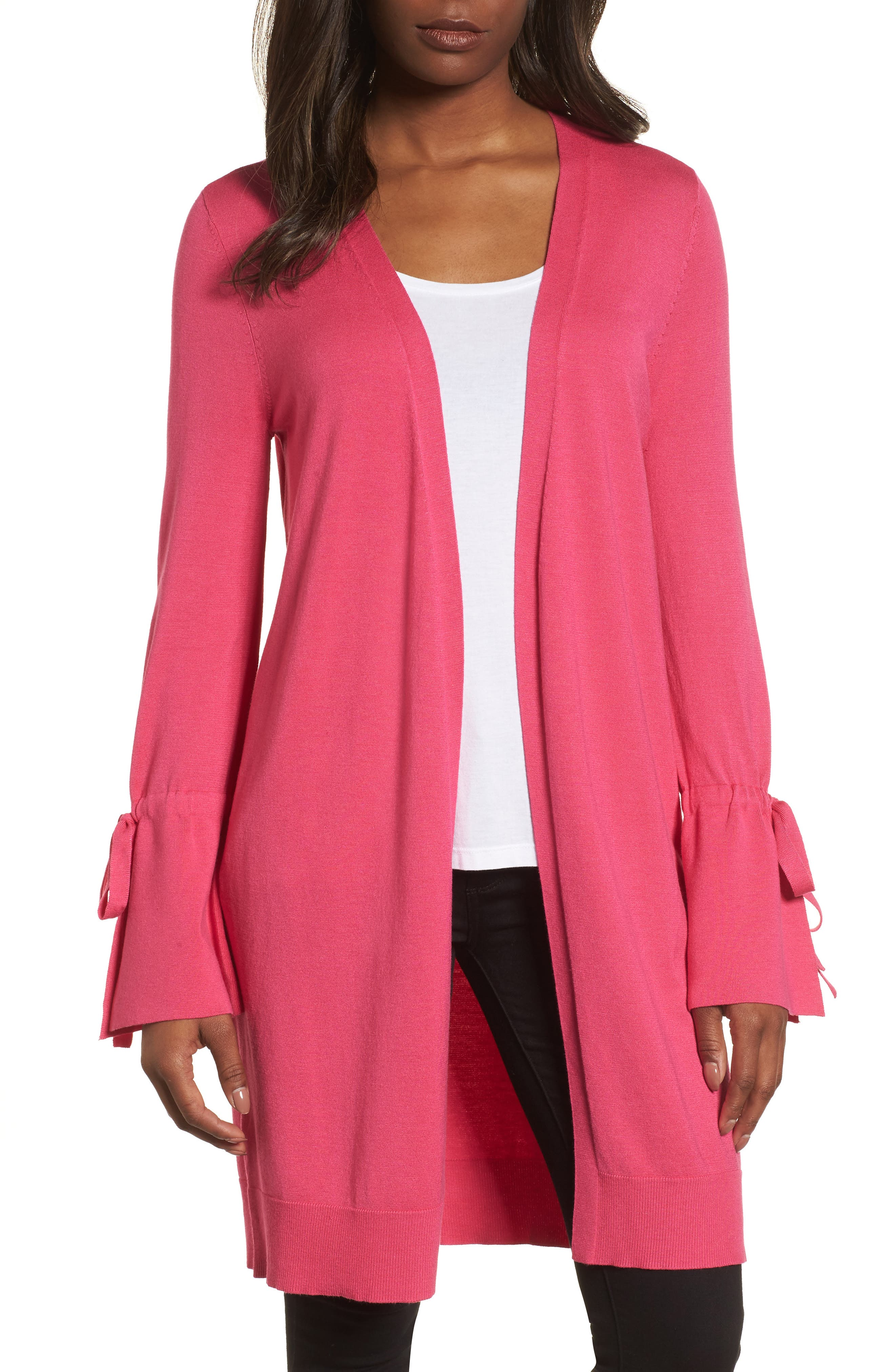 Lightweight Tie Sleeve Cardigan,                         Main,                         color, Pink Cabaret
