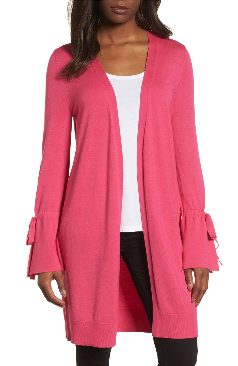 Lightweight Tie Sleeve Cardigan,                         Main,                         color, Pink Cabaret