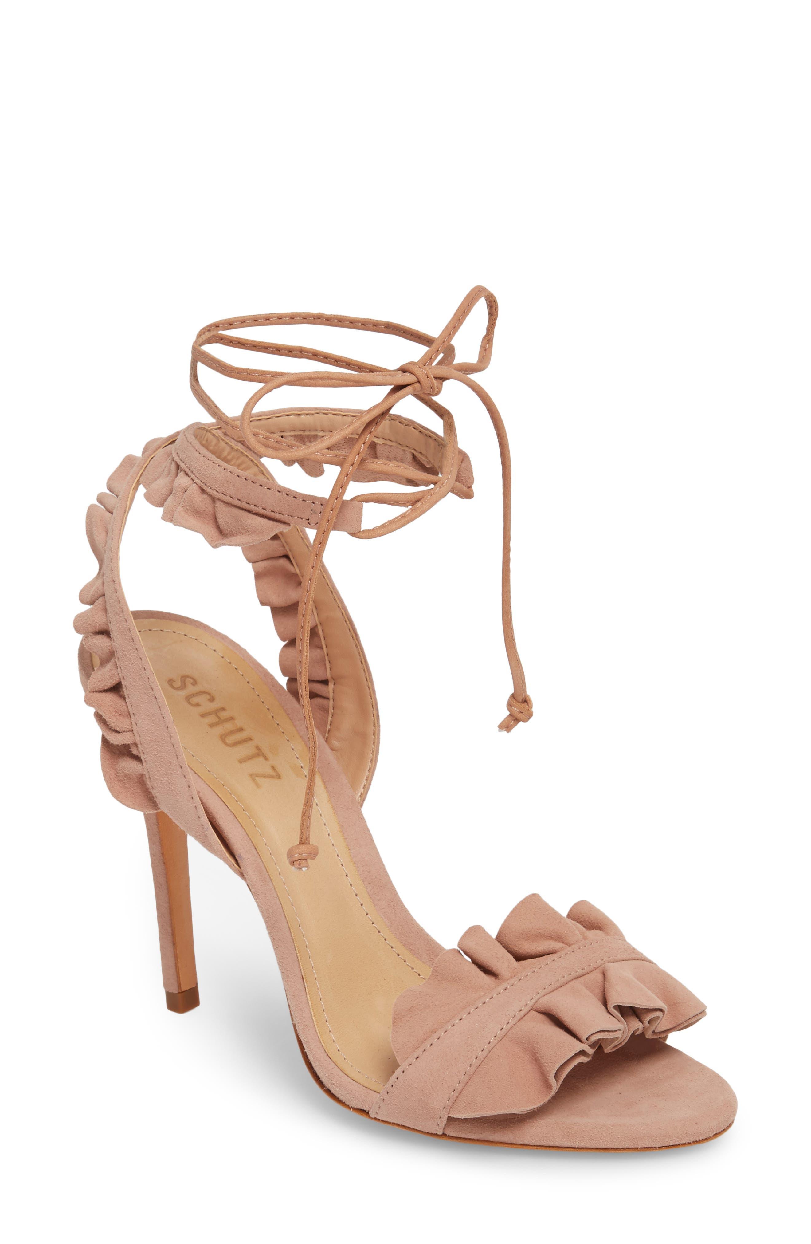 Irem Lace-UP Sandal,                             Main thumbnail 1, color,                             Peach Suede