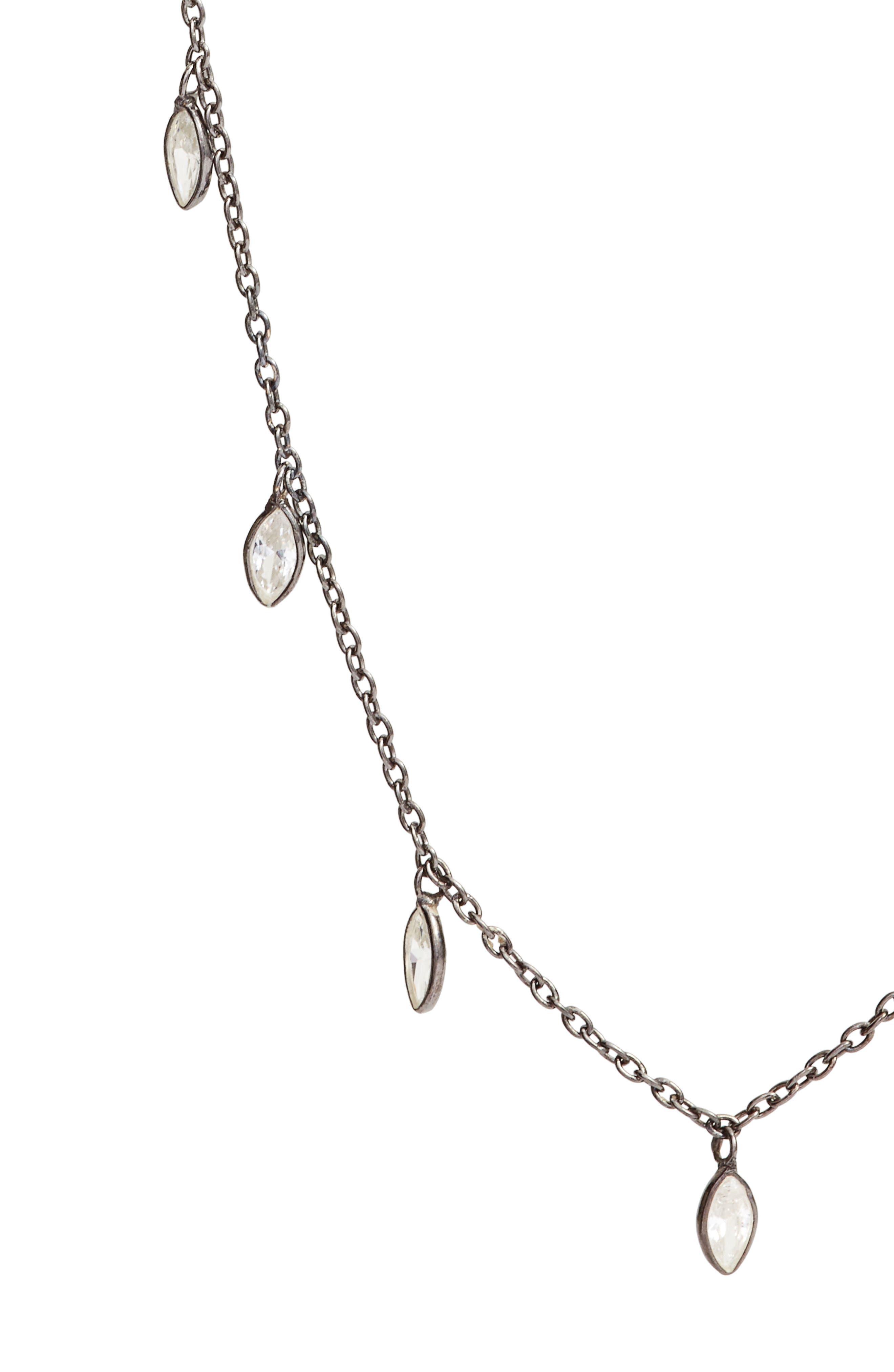 Crystal Long Necklace,                             Alternate thumbnail 2, color,                             Gunmetal