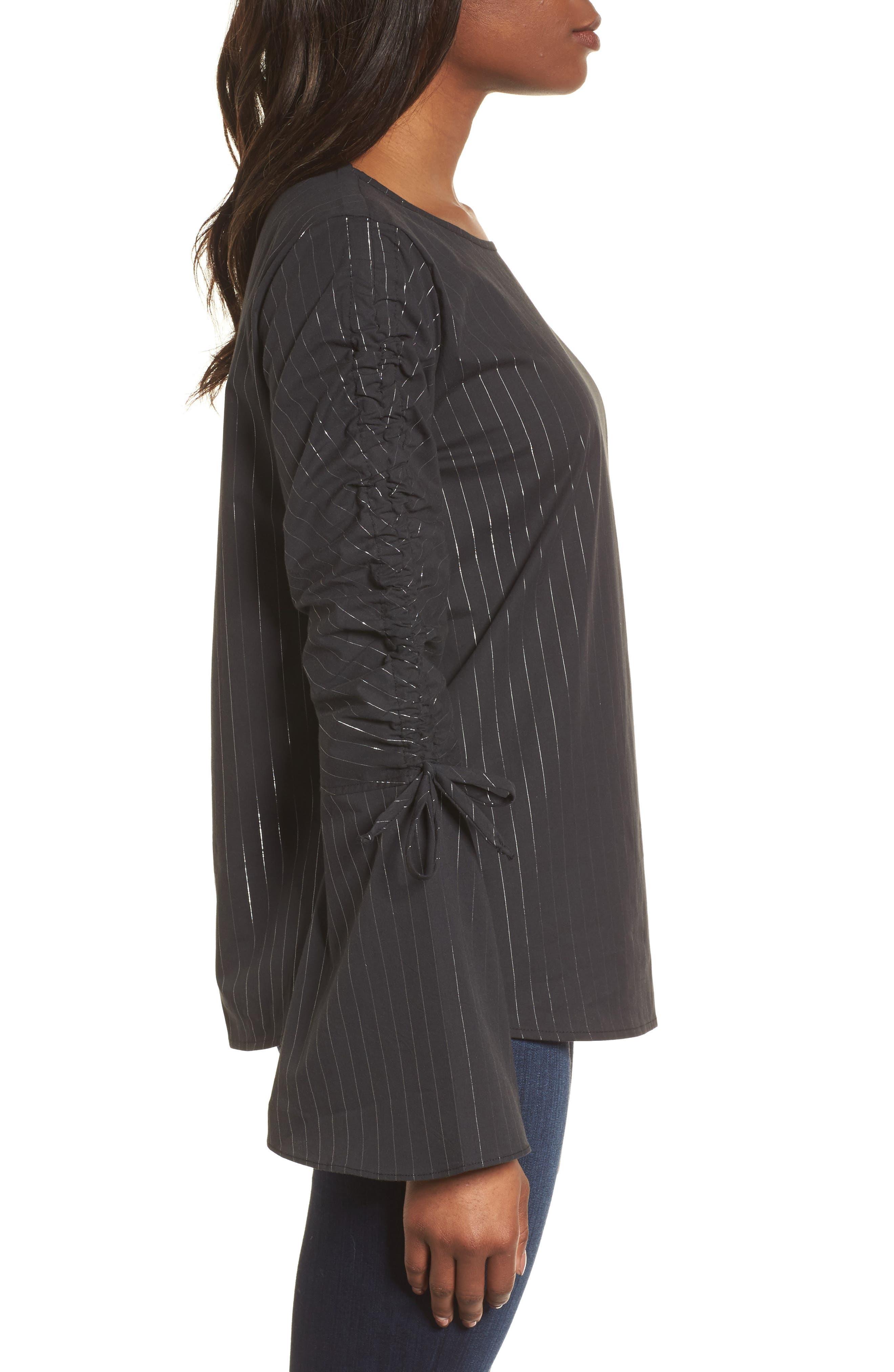 Ruched Sleeve Stripe Top,                             Alternate thumbnail 3, color,                             Black Wide Lurex Stripe