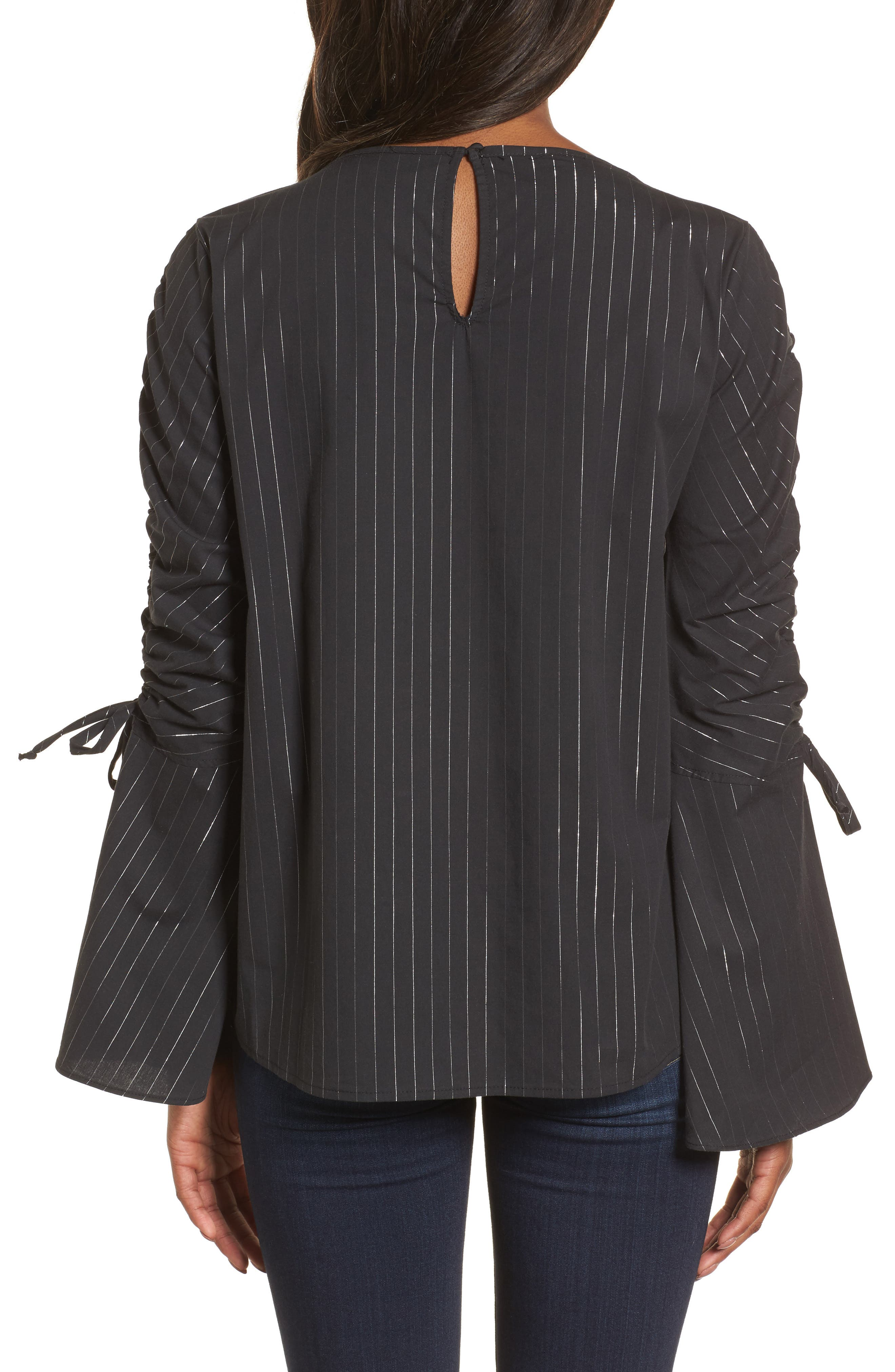 Ruched Sleeve Stripe Top,                             Alternate thumbnail 2, color,                             Black Wide Lurex Stripe