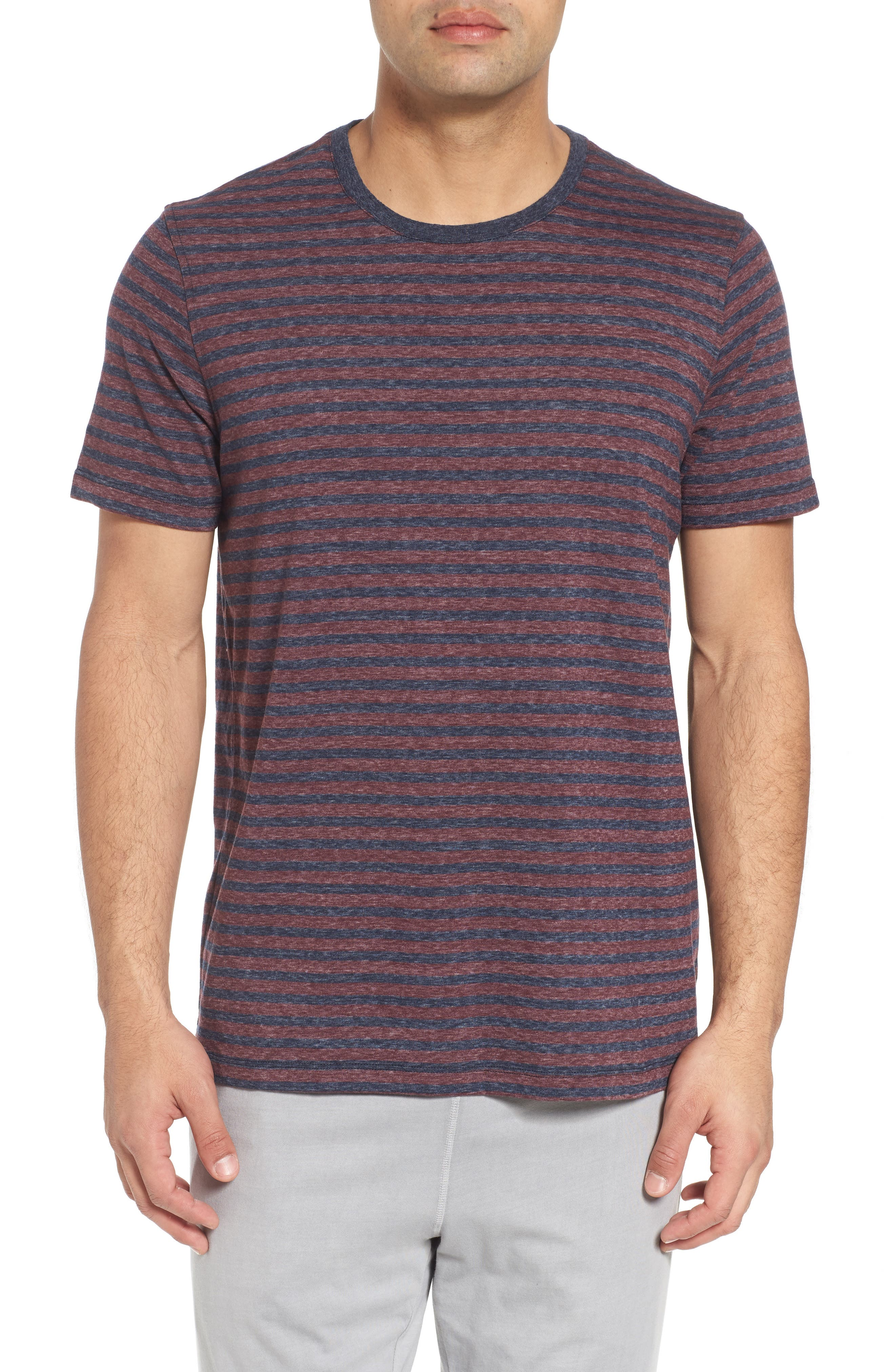 Crewneck Recycled Cotton Blend T-Shirt,                             Main thumbnail 1, color,                             Blue/ Red
