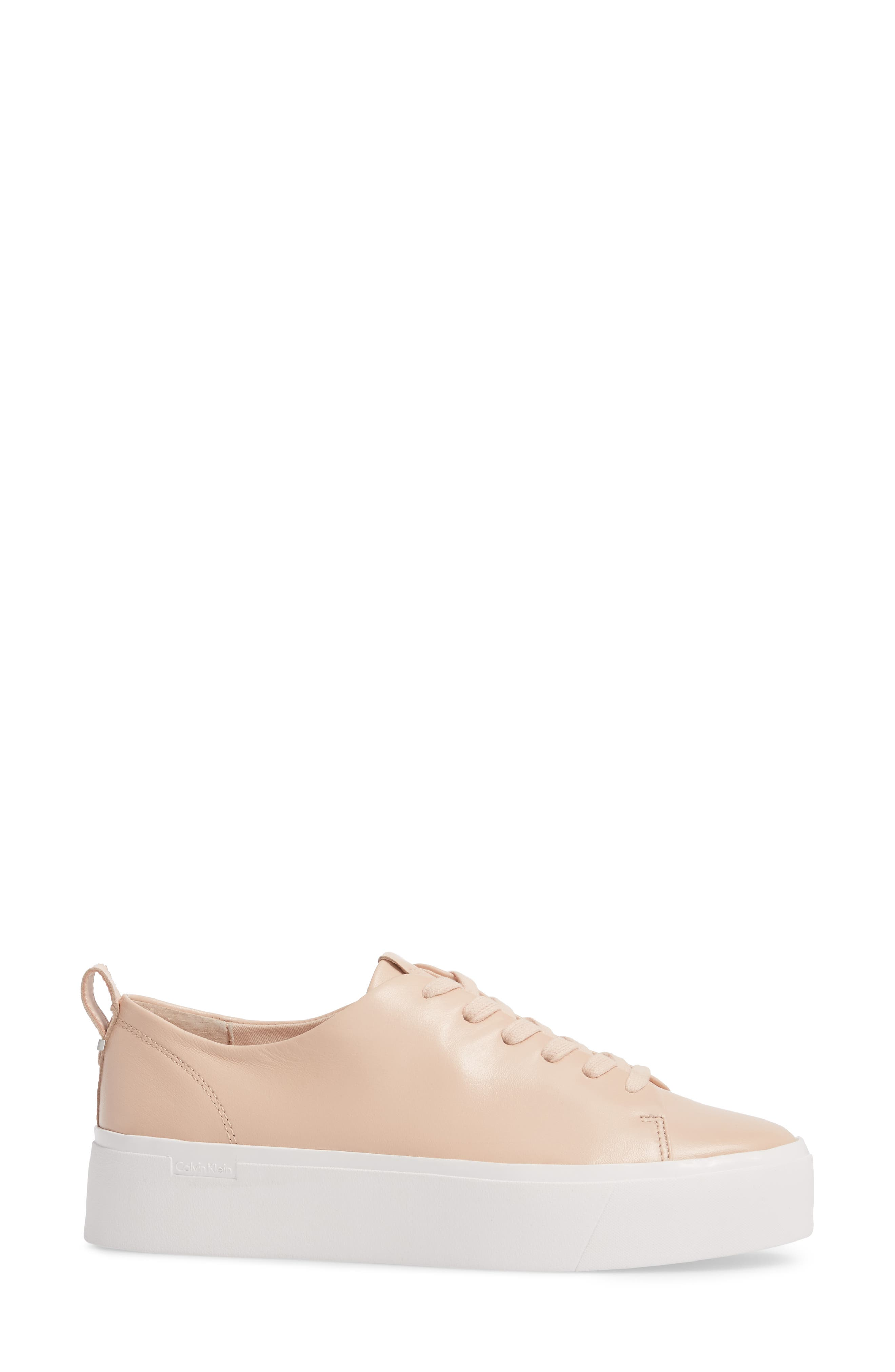 Janet Platform Sneaker,                             Alternate thumbnail 3, color,                             Pink Leather