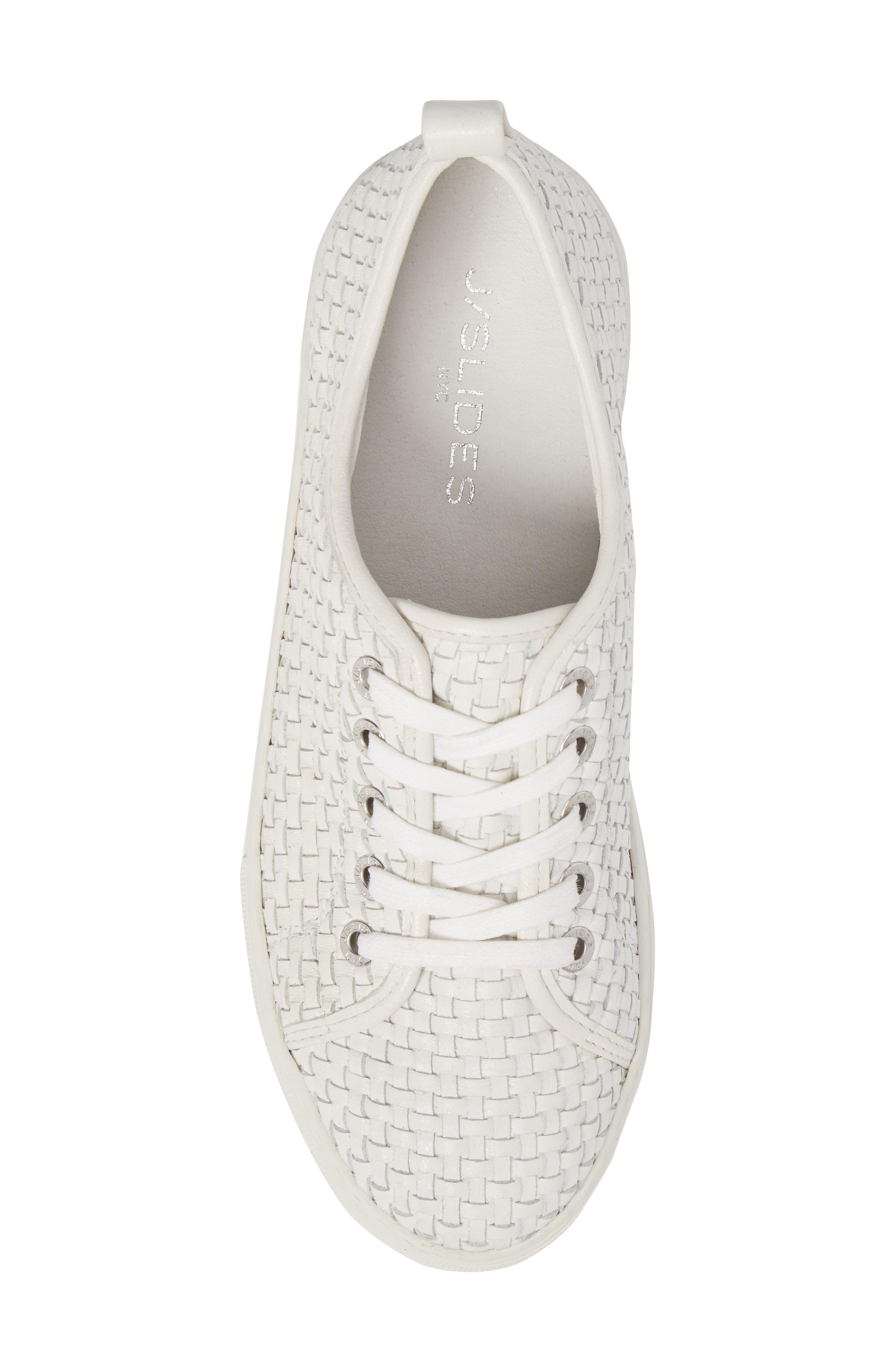 Artsy Woven Platform Sneaker,                             Alternate thumbnail 5, color,                             White Leather