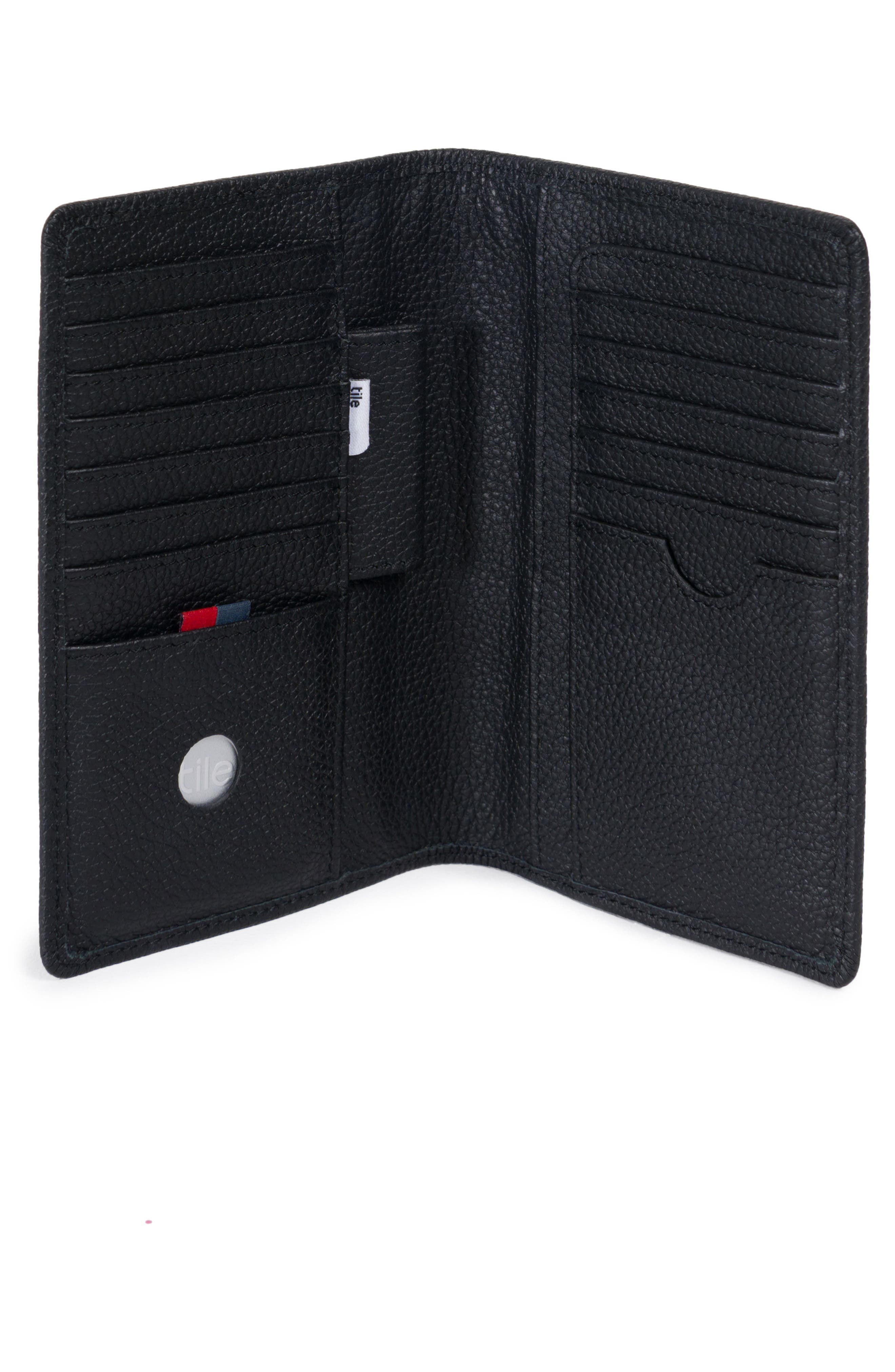 Tile Search Slim Vertical Leather Wallet,                             Alternate thumbnail 2, color,                             Black Pebbled Leather