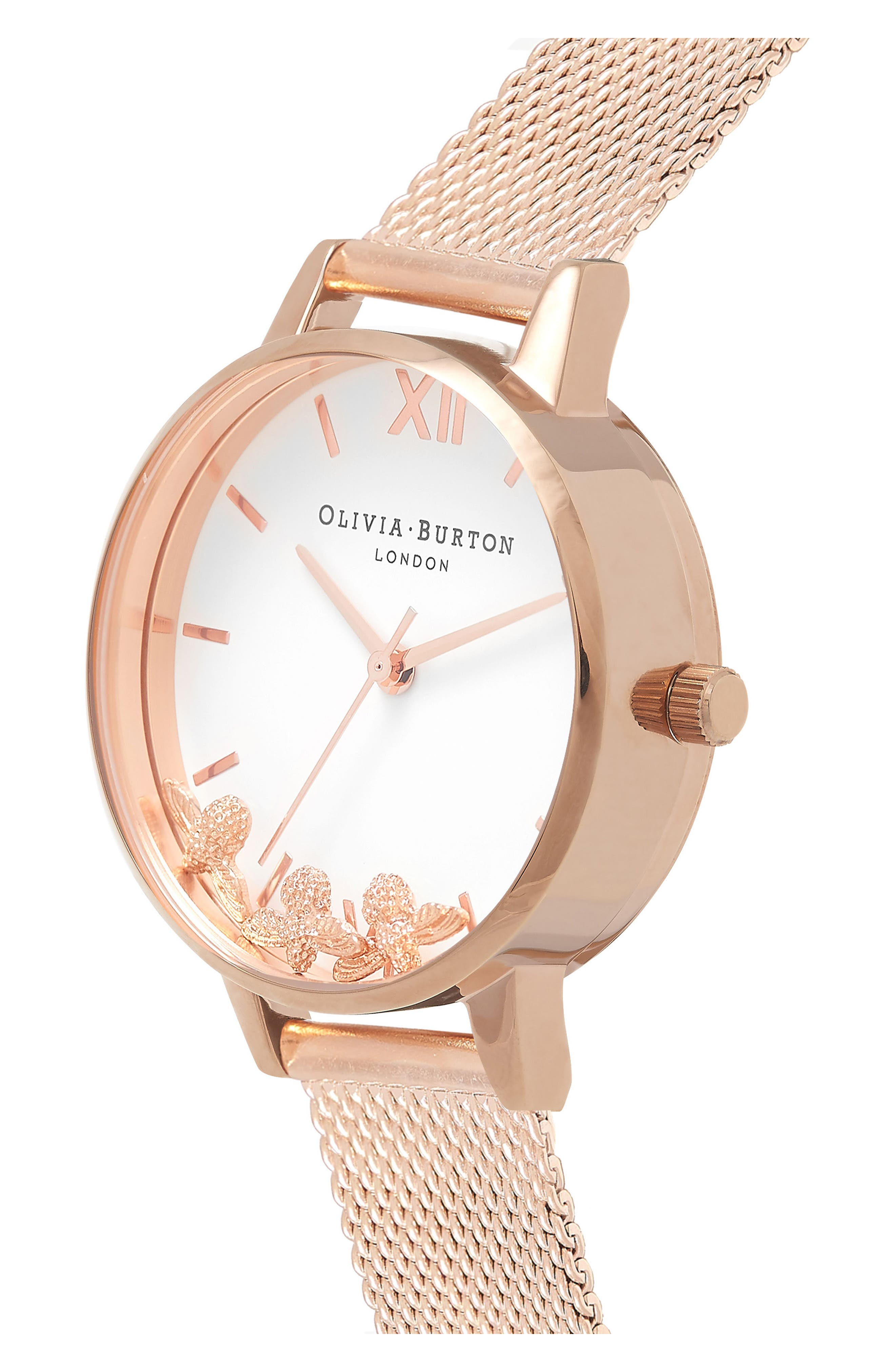Busy Bees Mesh Strap Watch, 30mm,                             Alternate thumbnail 3, color,                             Rose Gold/ White/ Rose Gold