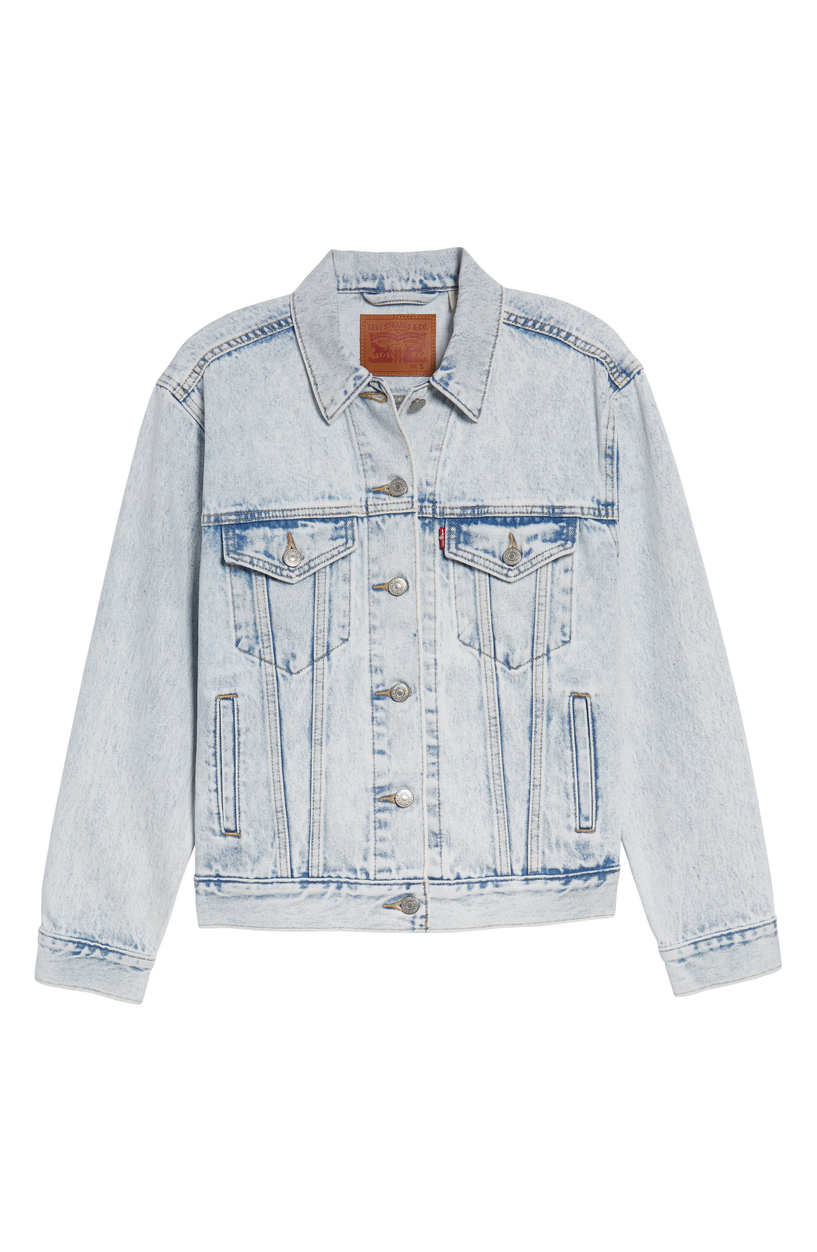 Ex-Boyfriend Denim Trucker Jacket,                             Alternate thumbnail 6, color,                             Static Sound