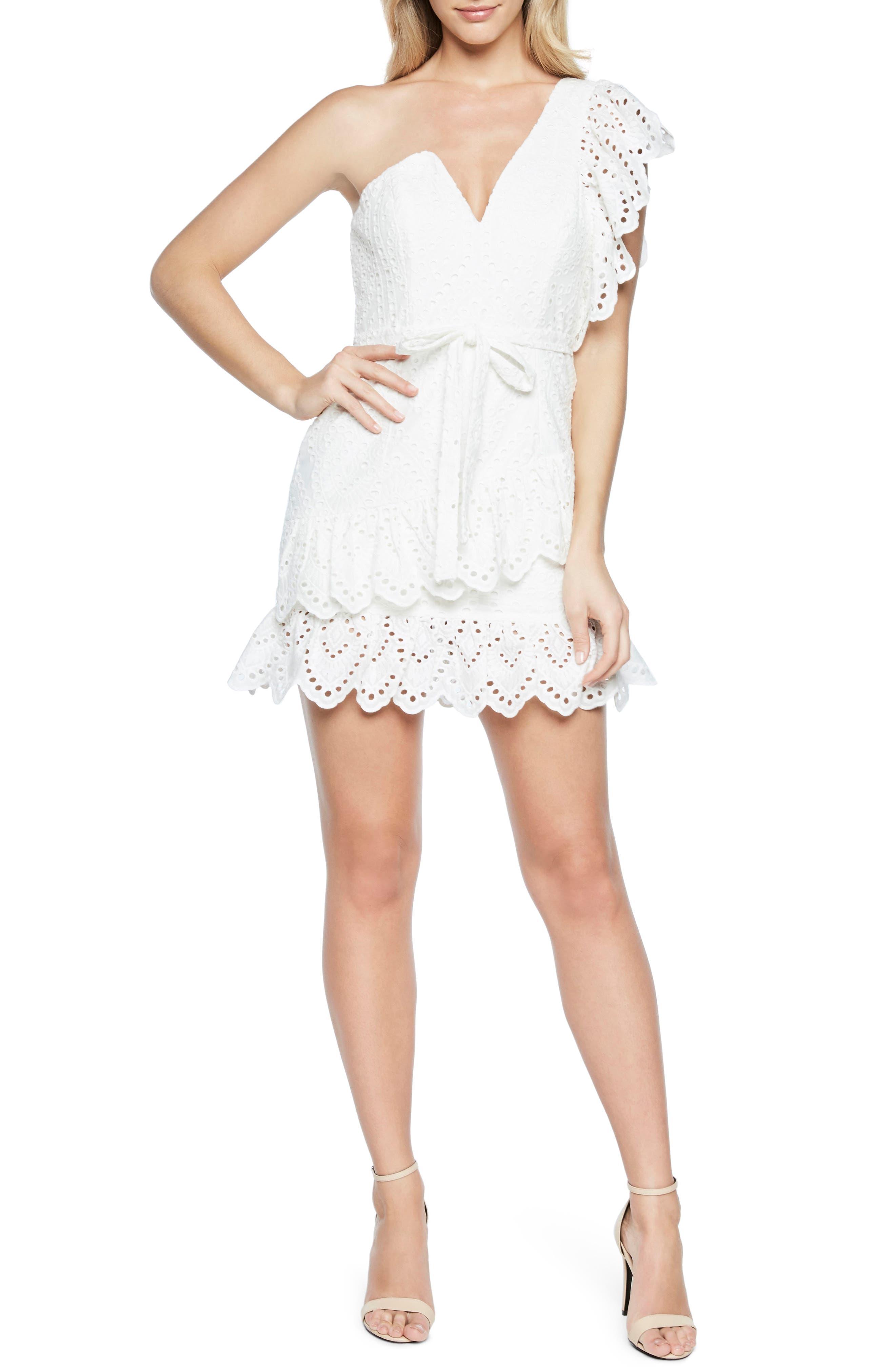 Frill Shoulder Minidress,                         Main,                         color, White