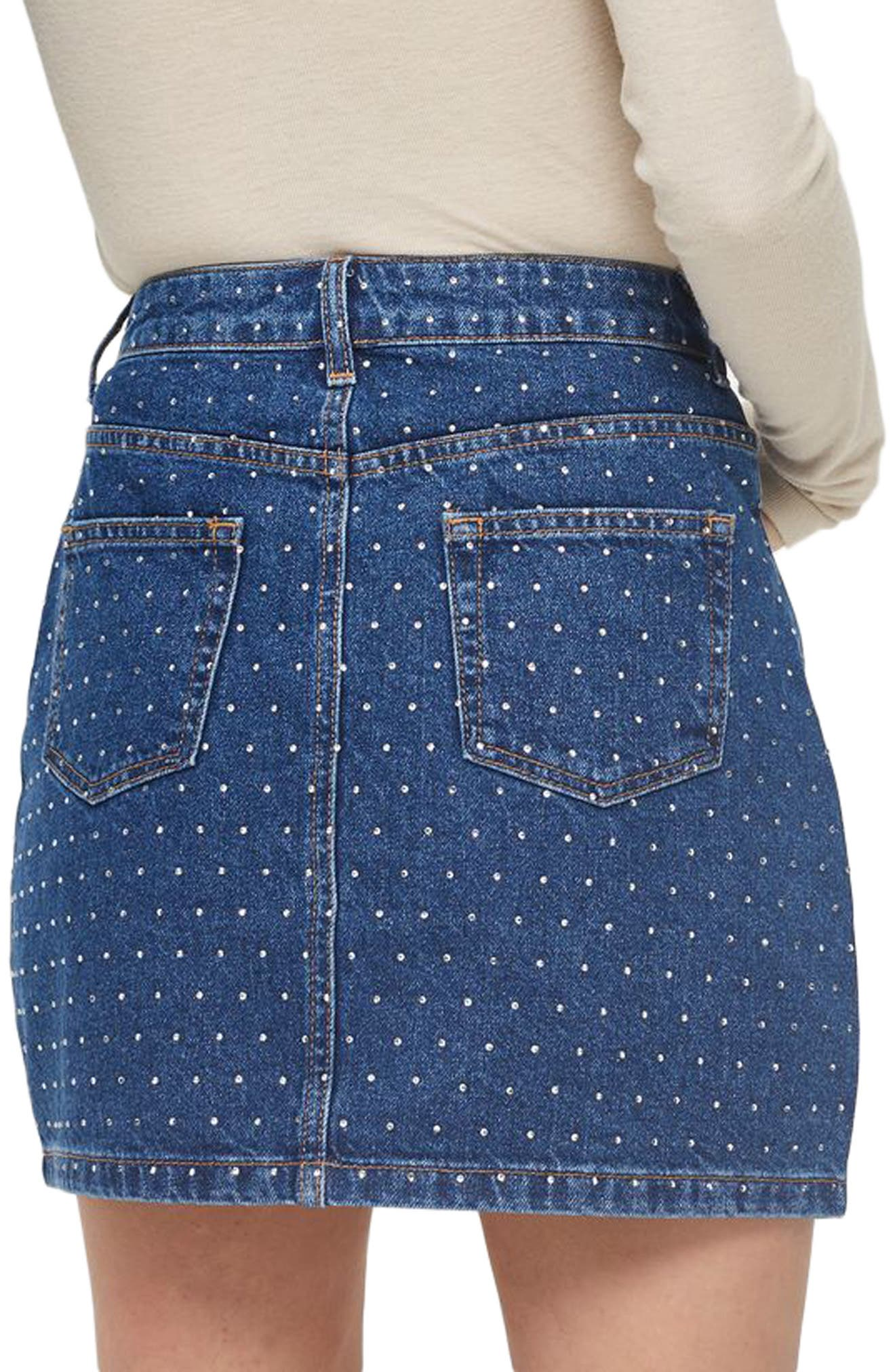 Crystal Studded Denim Miniskirt,                             Alternate thumbnail 3, color,                             Mid Denim