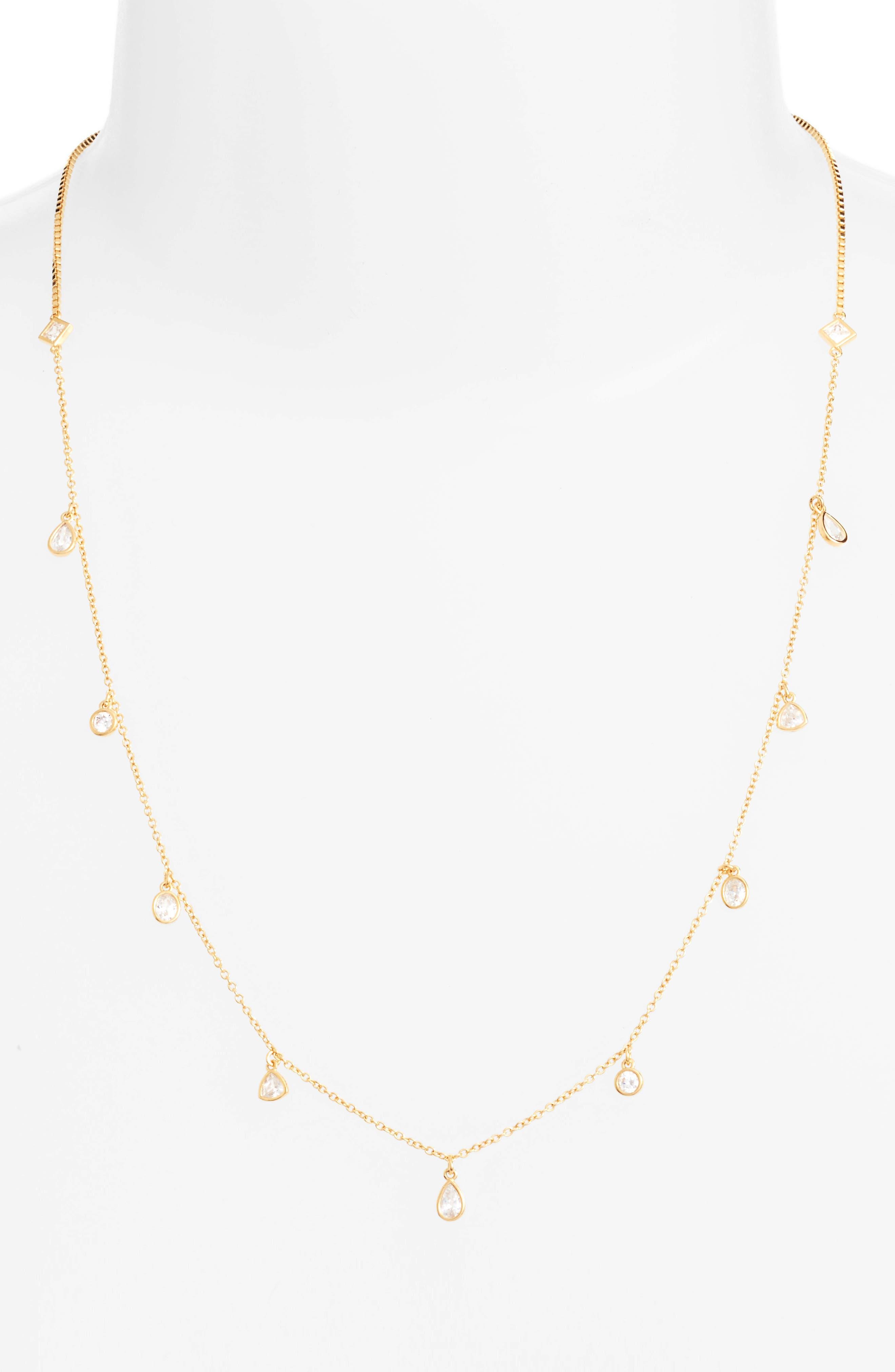 Cubic Zirconia Slider Necklace,                             Alternate thumbnail 2, color,                             Gold