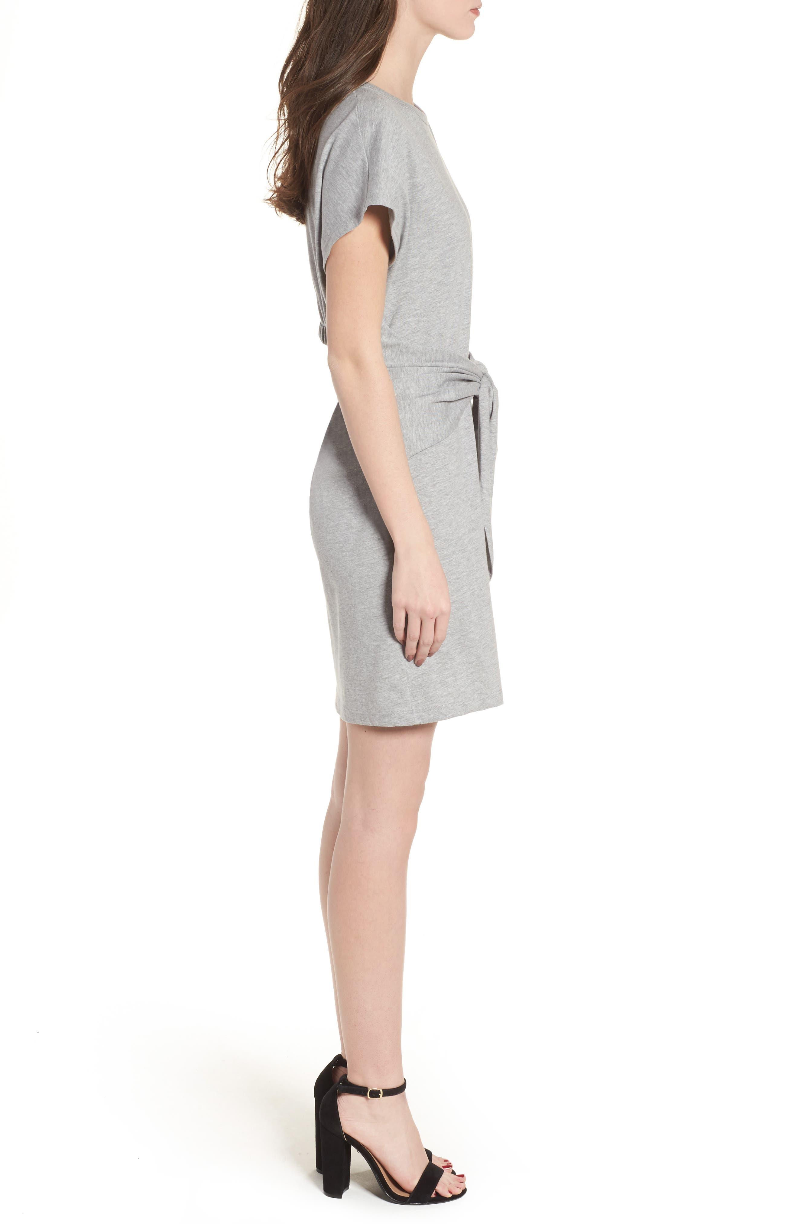 Tie Waist T-Shirt Dress,                             Alternate thumbnail 3, color,                             Heather Grey