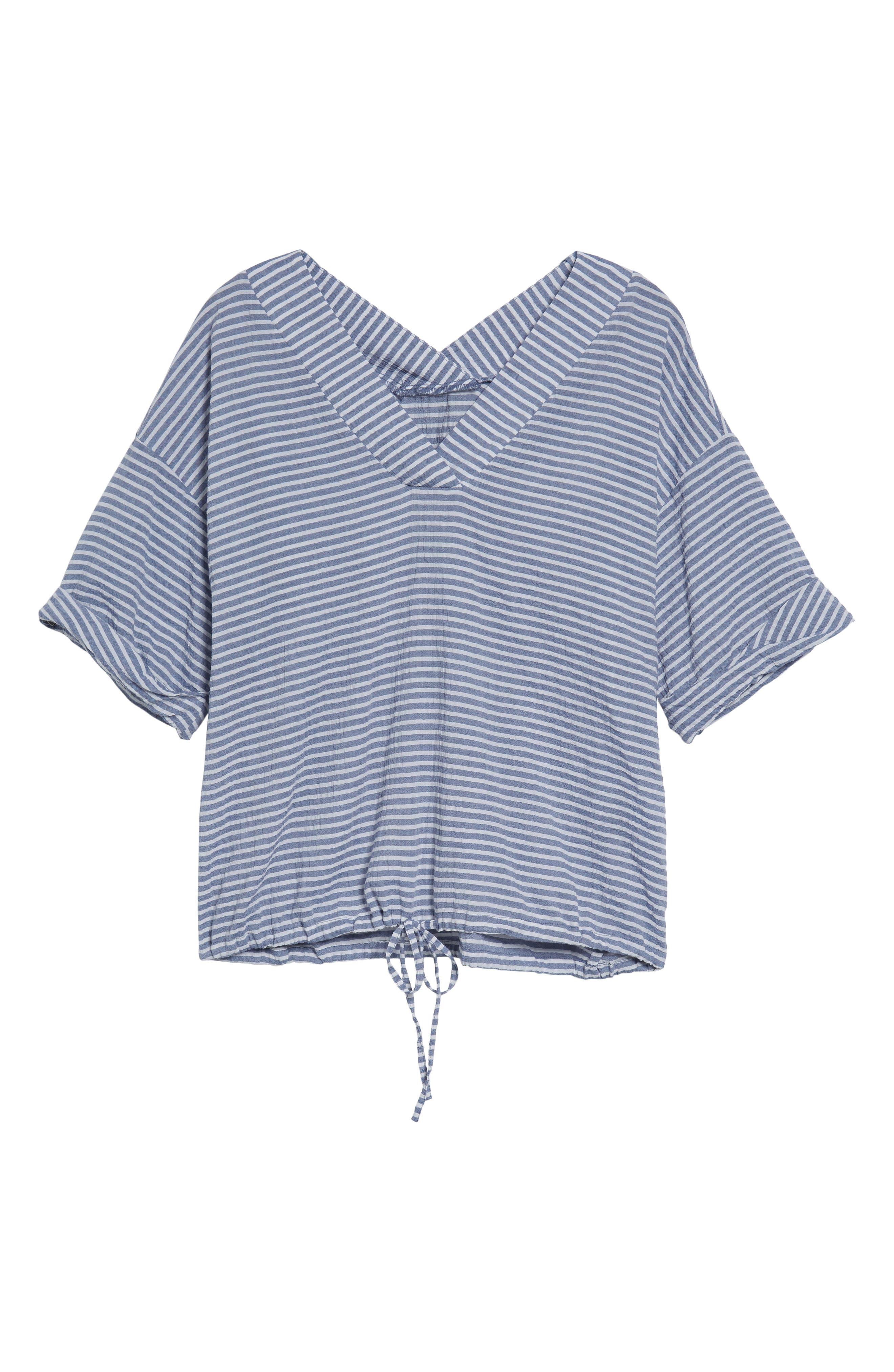 Tie Waist Stripe Seersucker Top,                             Alternate thumbnail 6, color,                             Blue- White Stripe